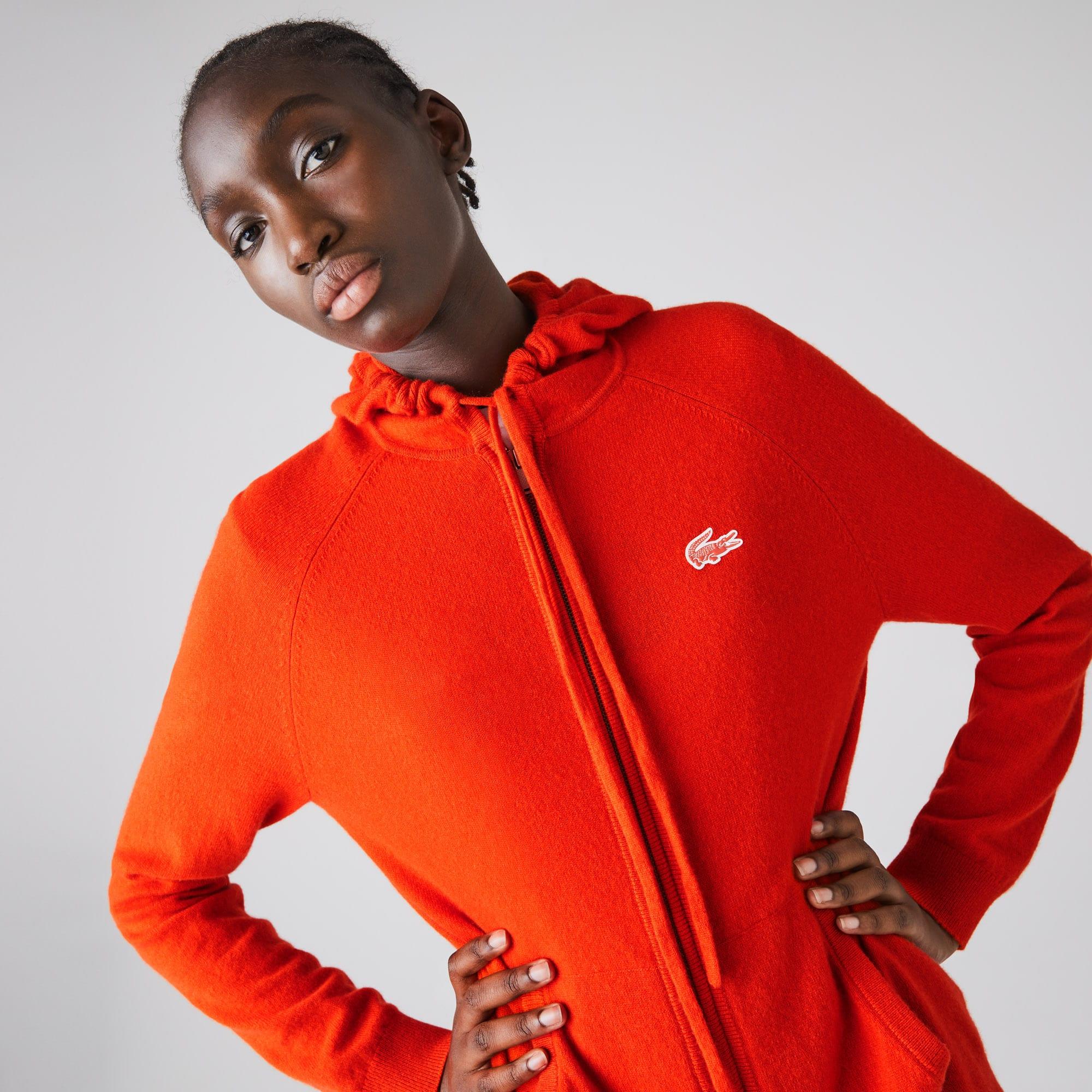 라코스테 스포츠 우먼 캐시미어 집업 스웨터 Lacoste Womens SPORT Recycled Cashmere Zip Sweater,Red