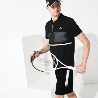 라코스테 Lacoste Mens SPORT Lightweight Tennis Shorts,Black / White - 258