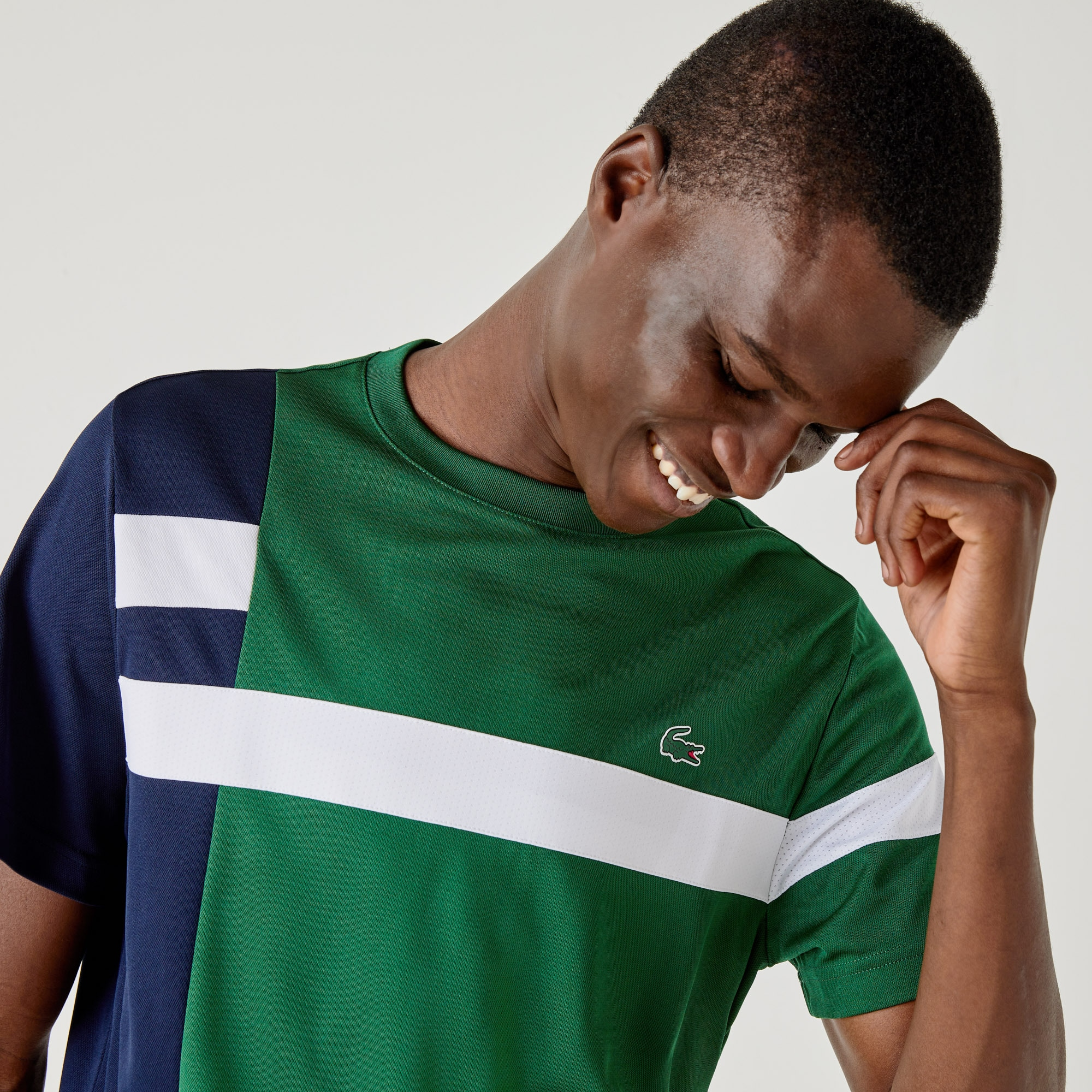 Lacoste Men's Sport Colorblock Breathable Piqué Tennis T-shirt In Green,navy Blue,white
