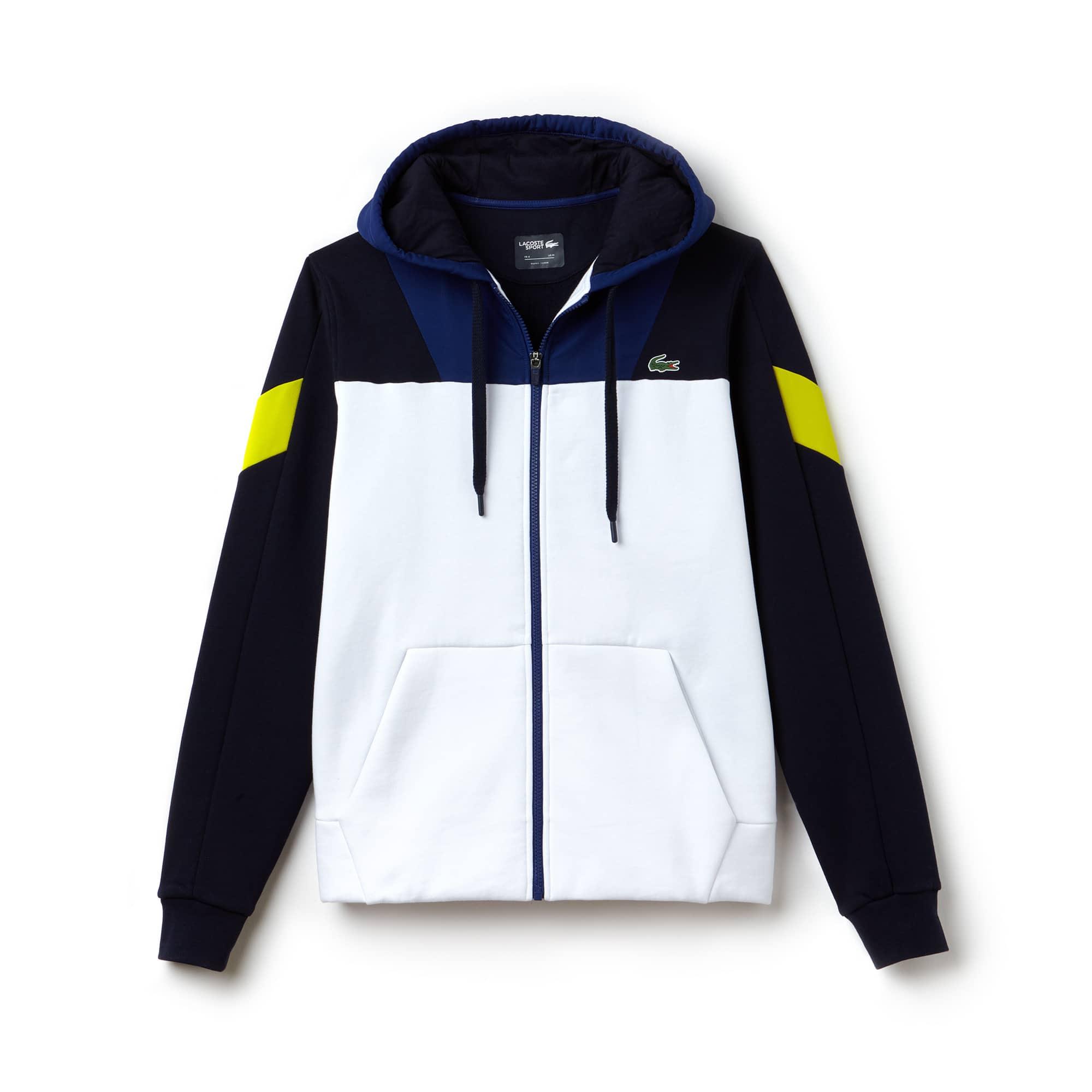 Men's Lacoste SPORT Tennis Colorblock Bi-material Zip Sweatshirt