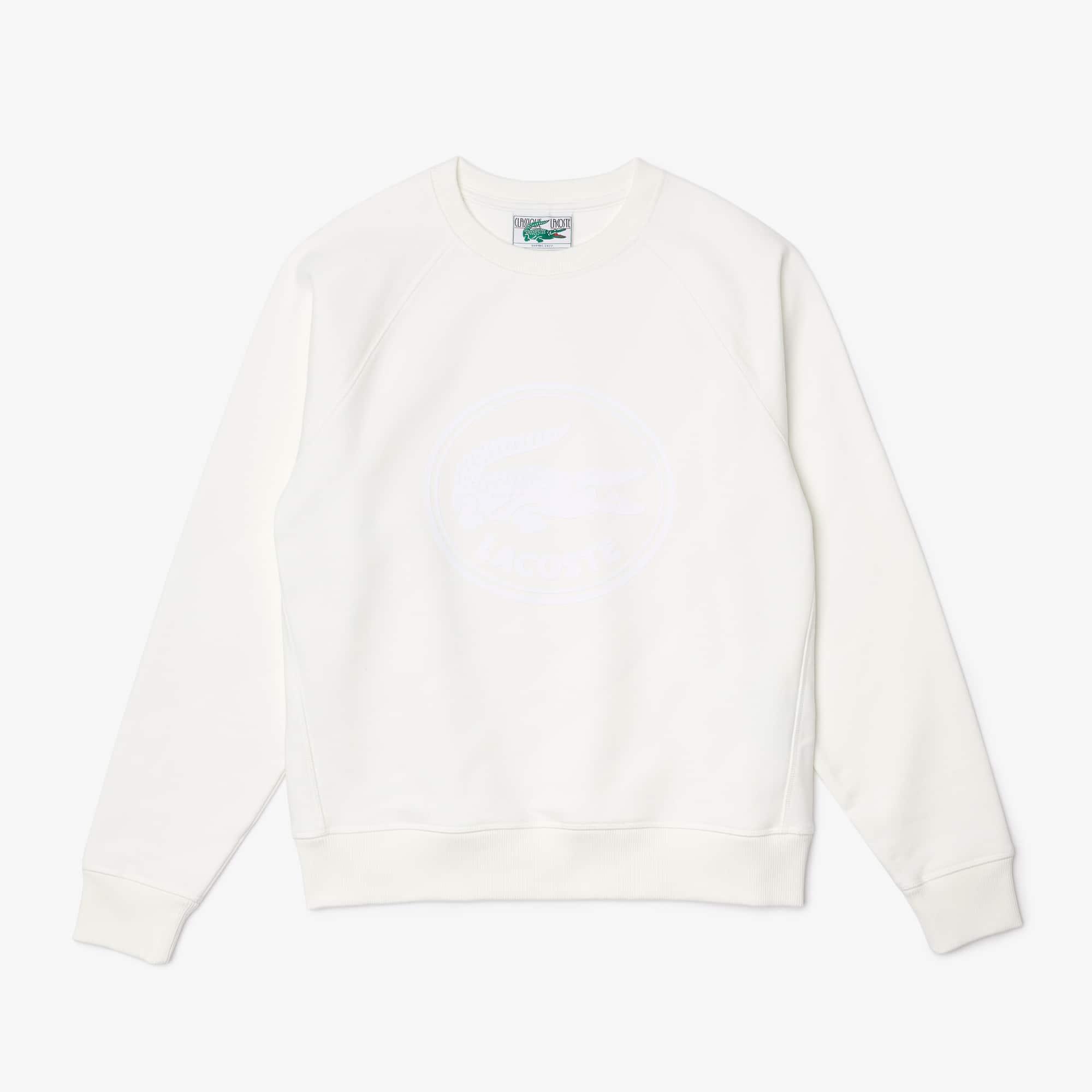 라코스테 우맨 맨투맨 Lacoste Women's 3D Logo Organic Cotton Fleece Sweatshirt,White NYV