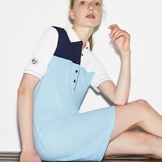 Womens 라코스테 Lacoste SPORT Roland Garros Edition Mini Pique Polo Dress,Light Blue / Navy Blue / White