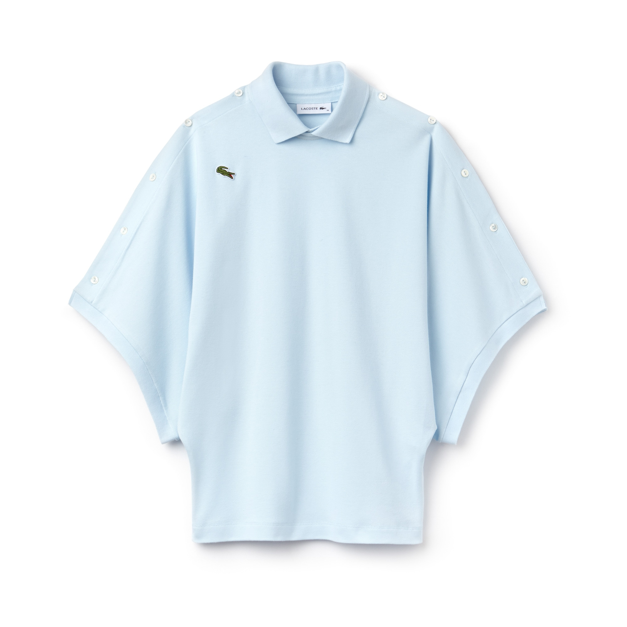 라코스테 반팔 카라티 Lacoste Womens Fashion Show Loose Fit Buttoned Sleeves Cotton Pique Polo,mist