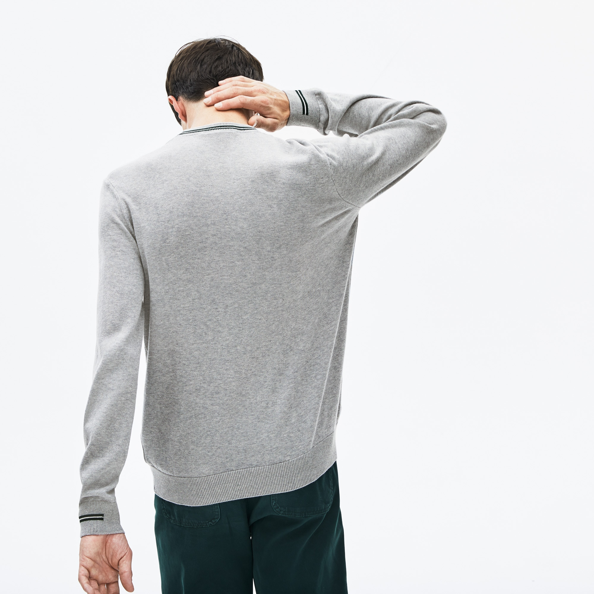 Men's Crewneck Mixed Stich And Striped Cotton Sweater