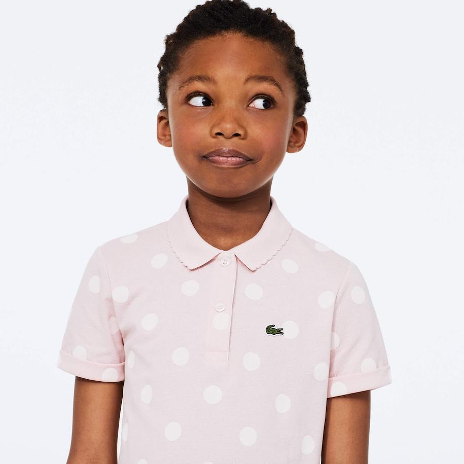 Girls' Polka Dot Scalloped Collar Cotton Petit Piqué Polo