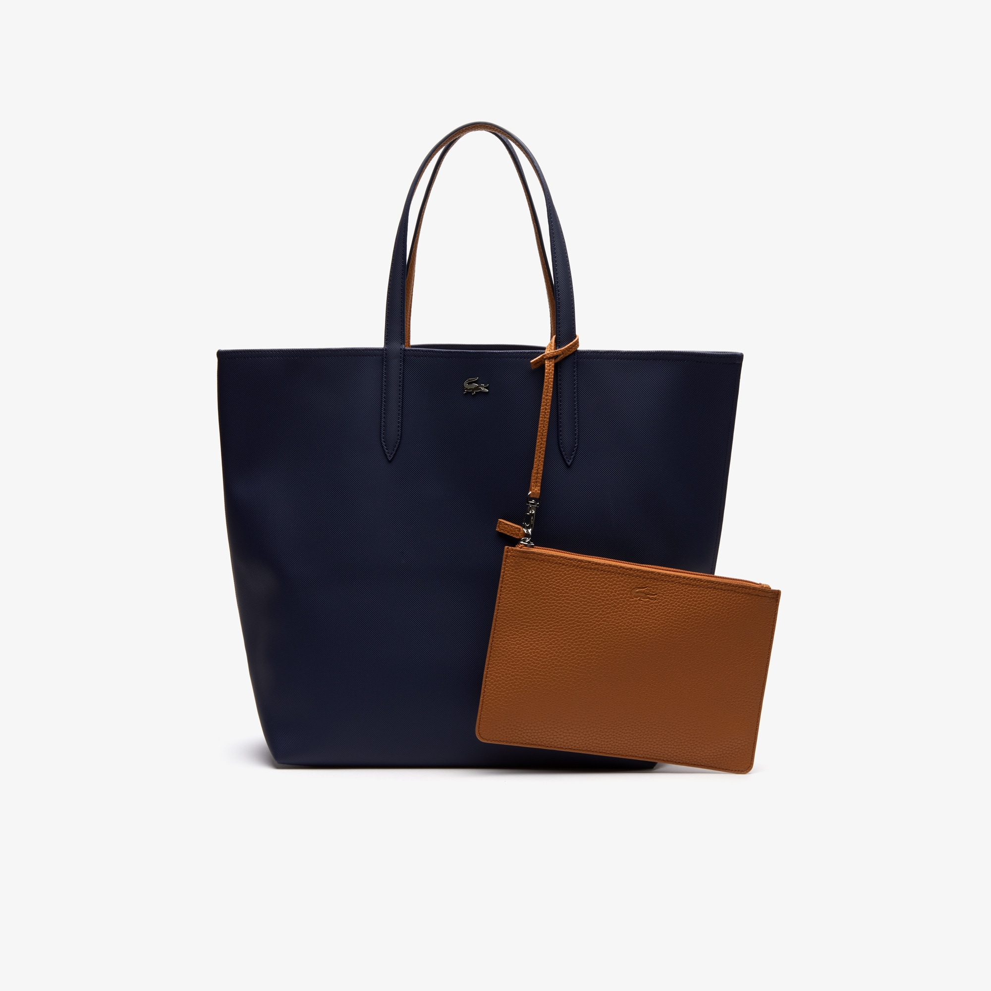 라코스테 Lacoste Womens Anna Large Reversible Bicolor Tote Bag,peacoat cashew