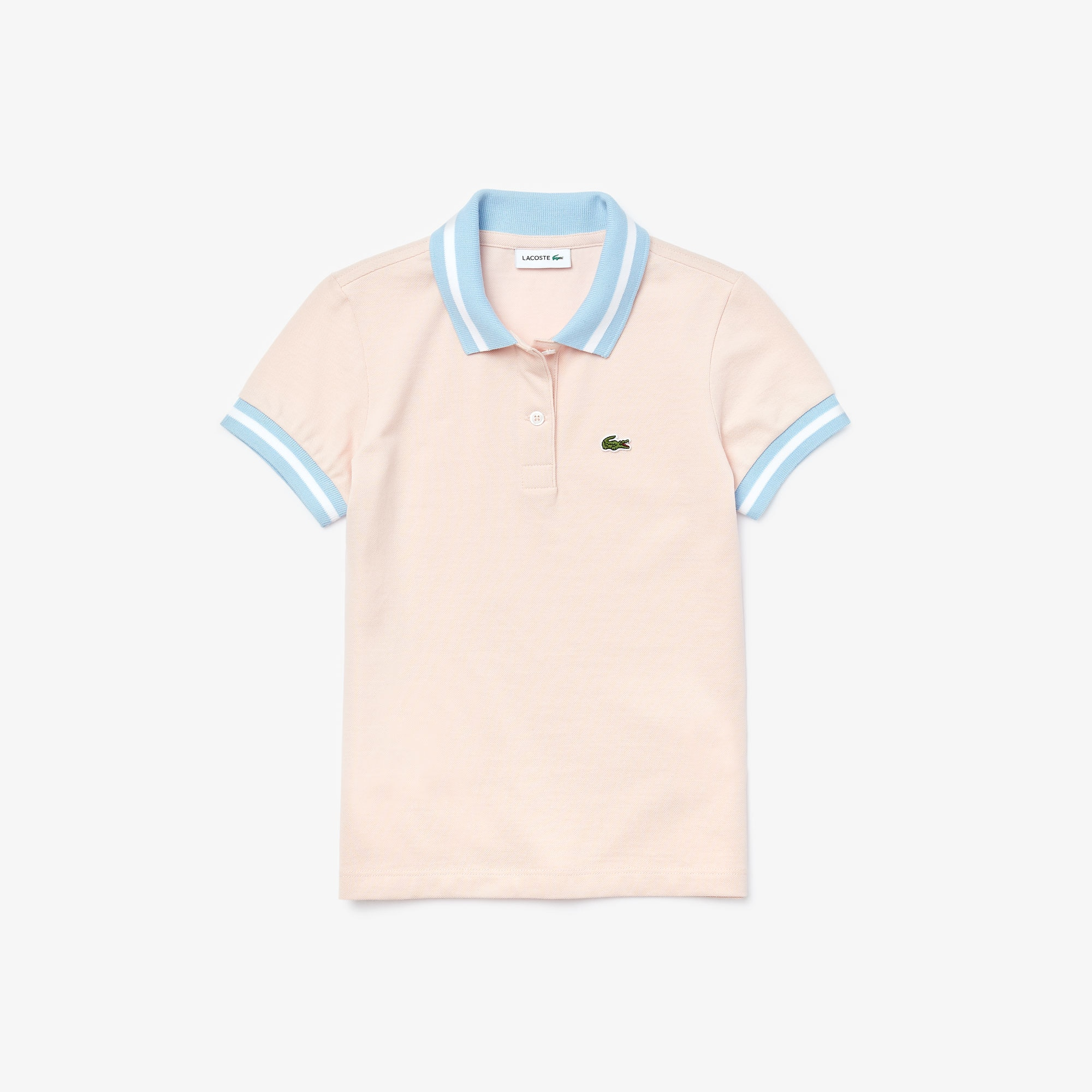 라코스테 보이즈 스트라이프 피케 폴로 Lacoste Boys Striped Details Cotton Pique Polo,Light Pink / White • AEK