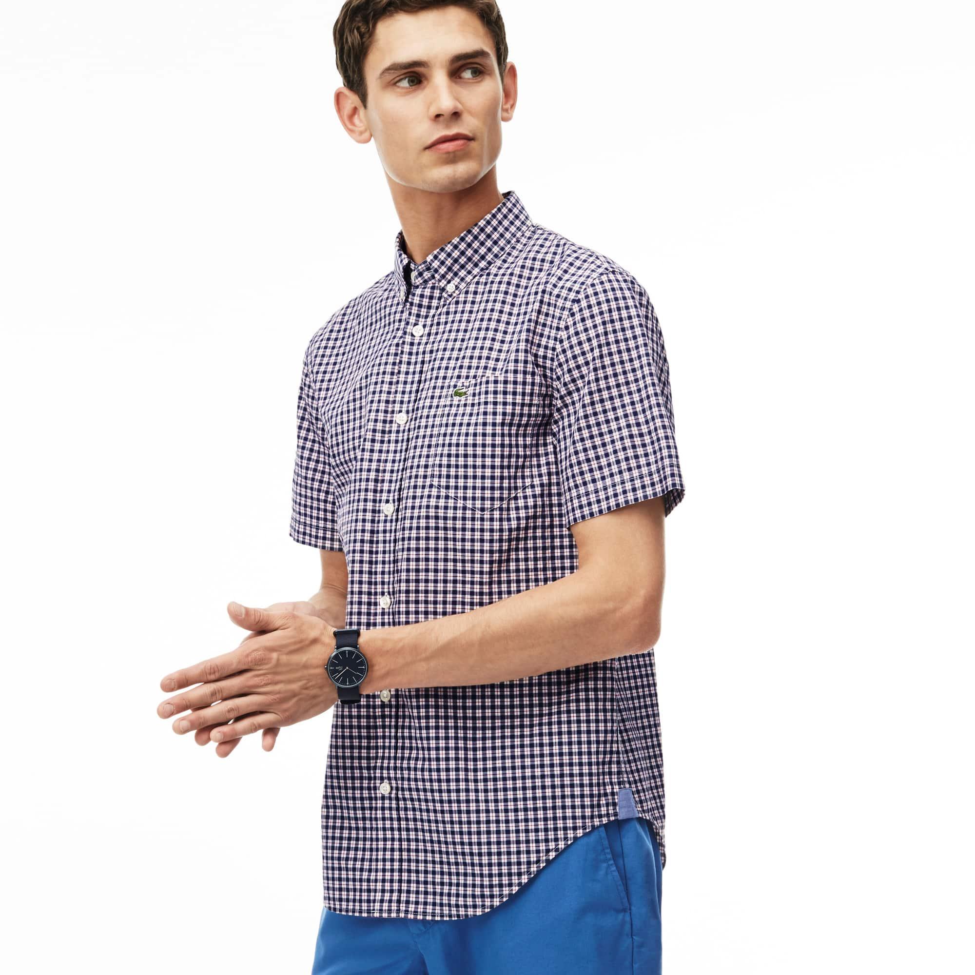 Men's Slim Fit Mini Check Cotton Poplin Shirt