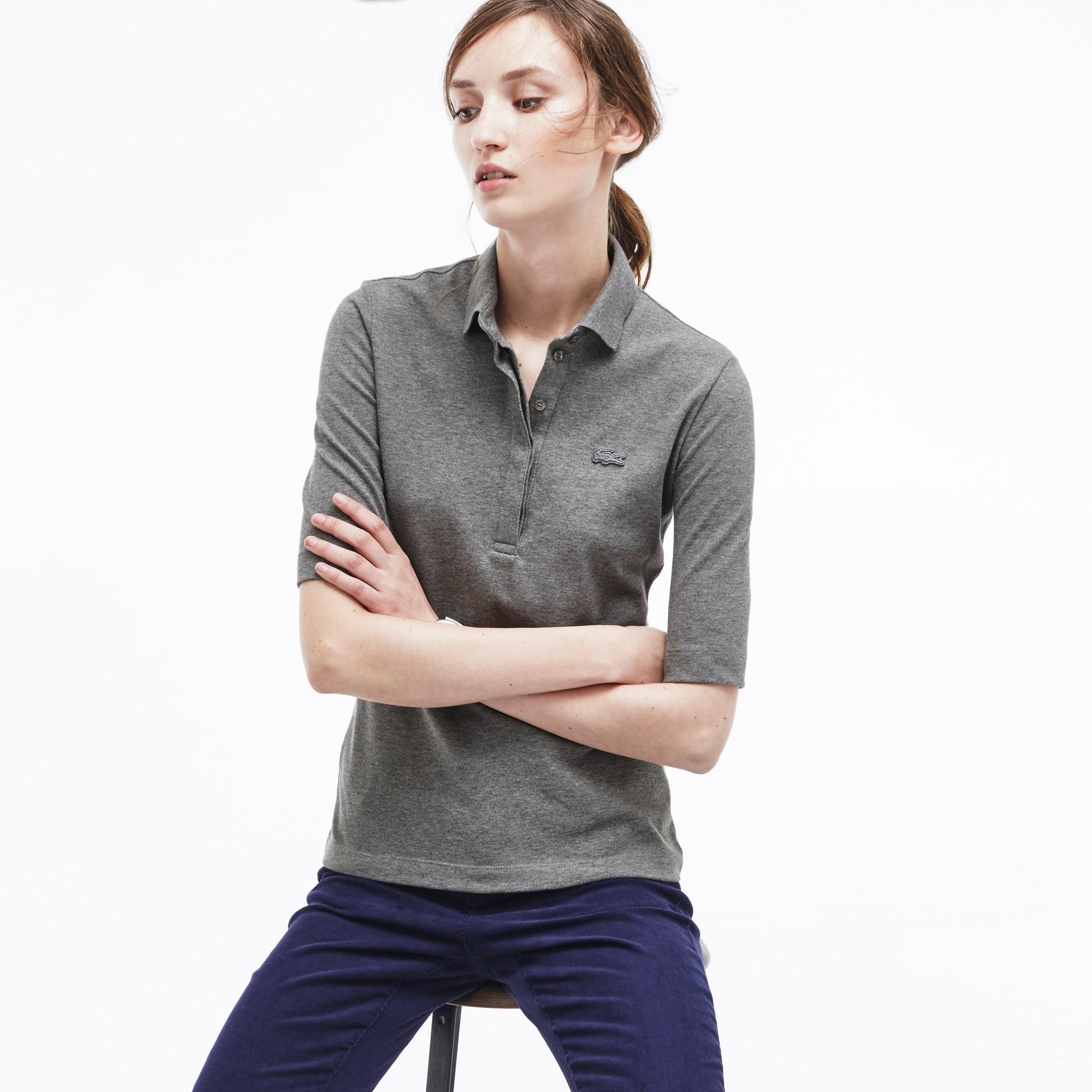 Women's Slim Fit Half Sleeve Stretch Piqué Polo Shirt