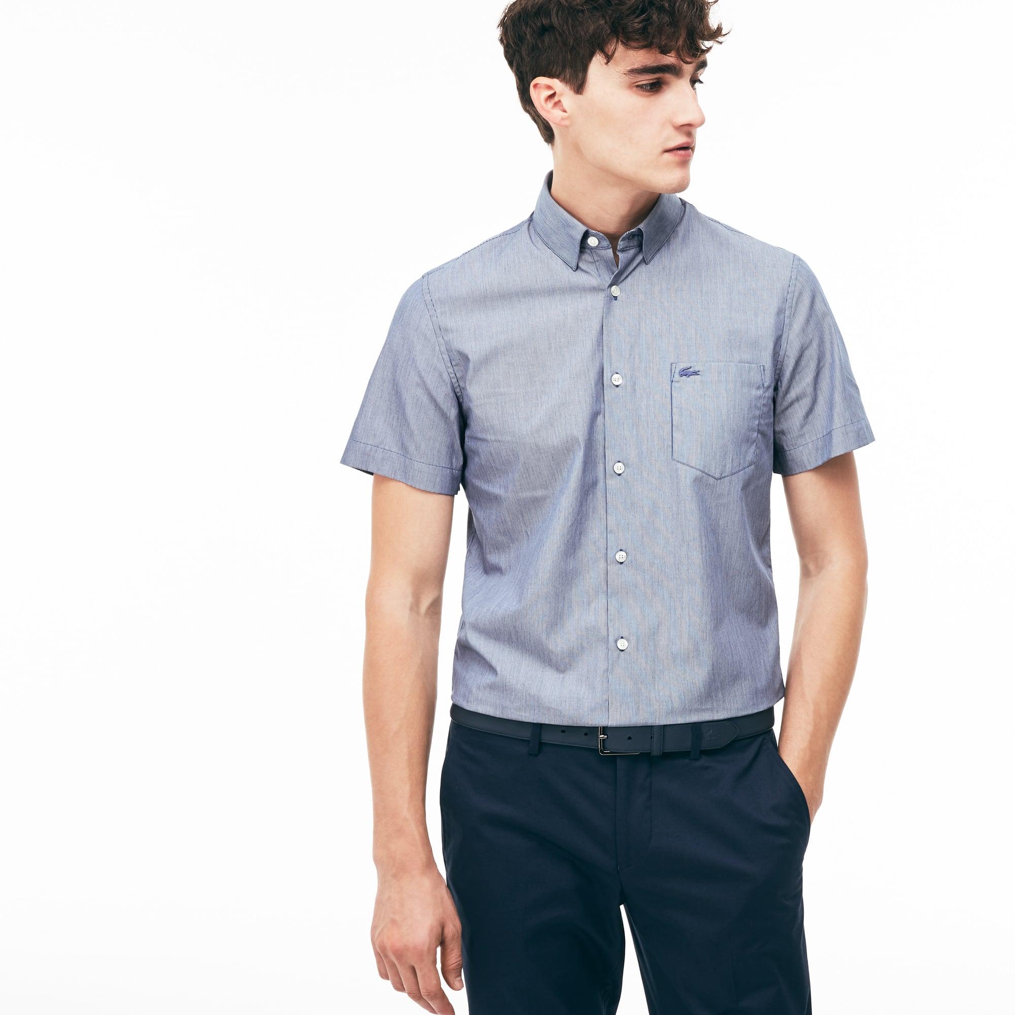 Men's Slim Fit Thin Striped Poplin Shirt