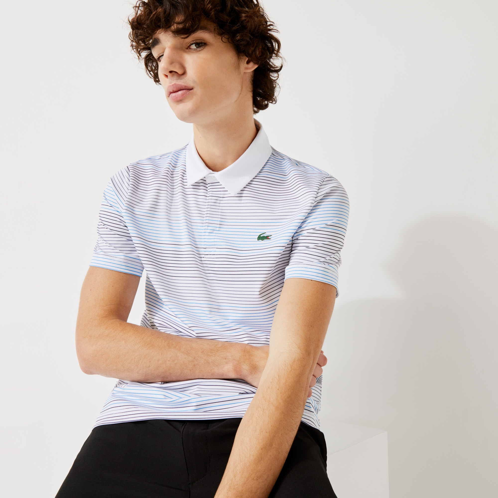 라코스테 Lacoste Men's SPORT Striped Breathable Stretch Golf Polo Shirt
