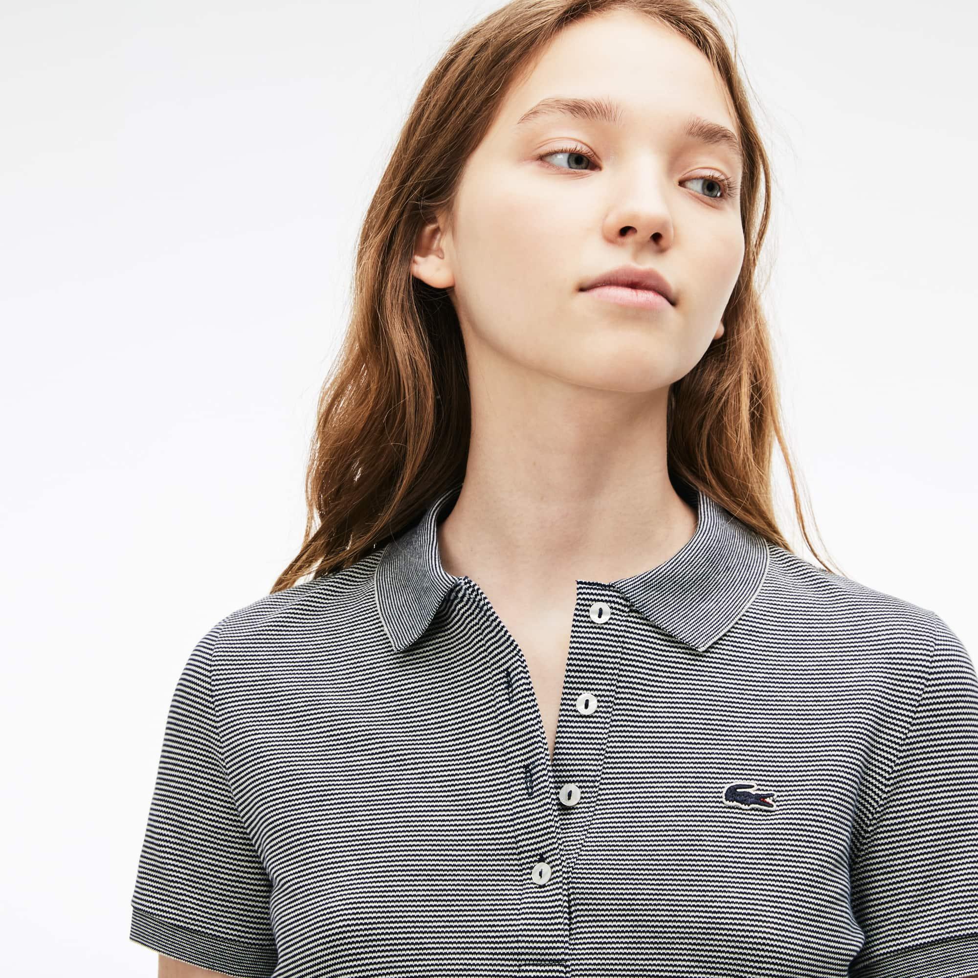 Women's Slim Fit Pinstriped Stretch Mini Piqué Polo
