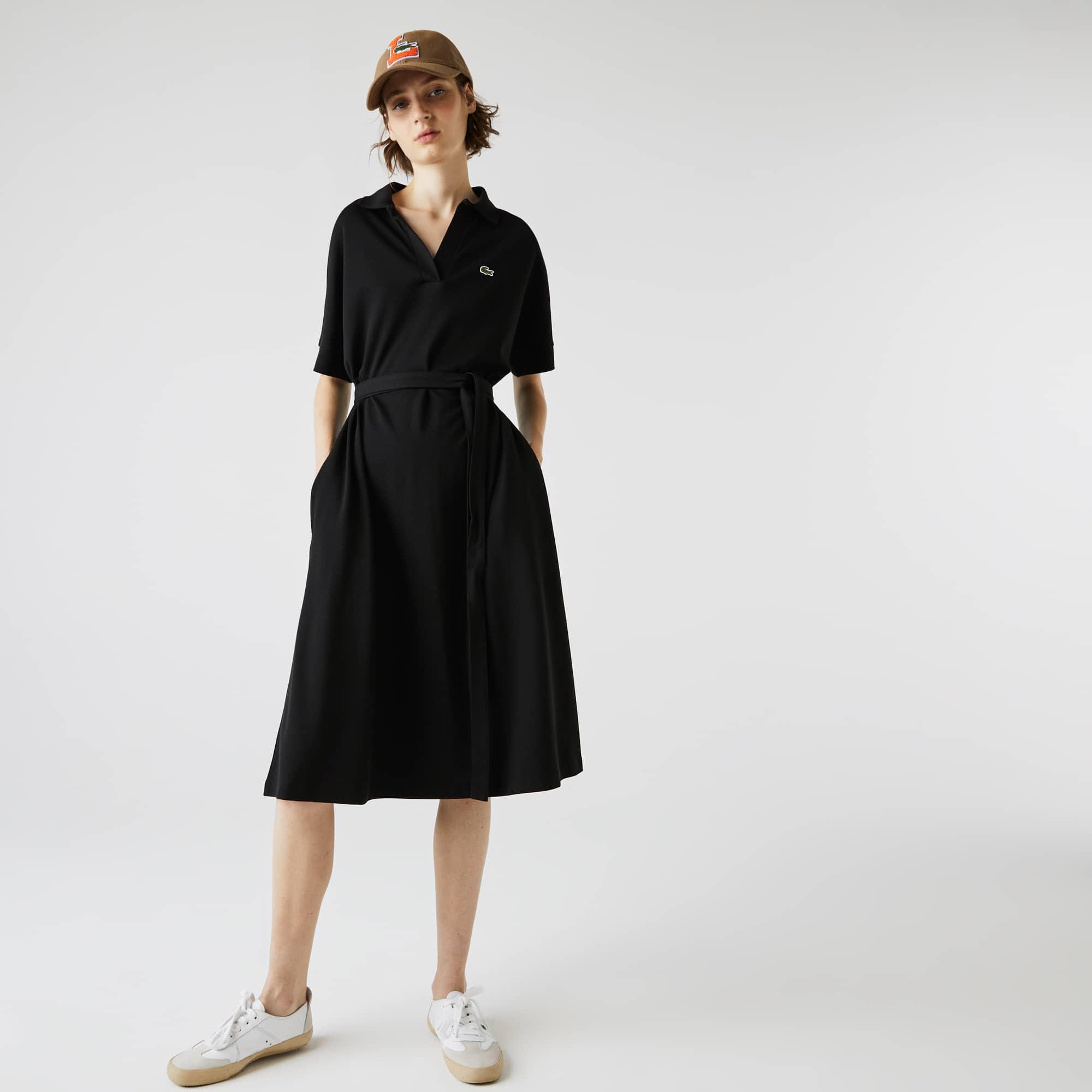 라코스테 폴로 원피스 Lacoste Womens V-neck Fitted Flowy Pique Polo Dress