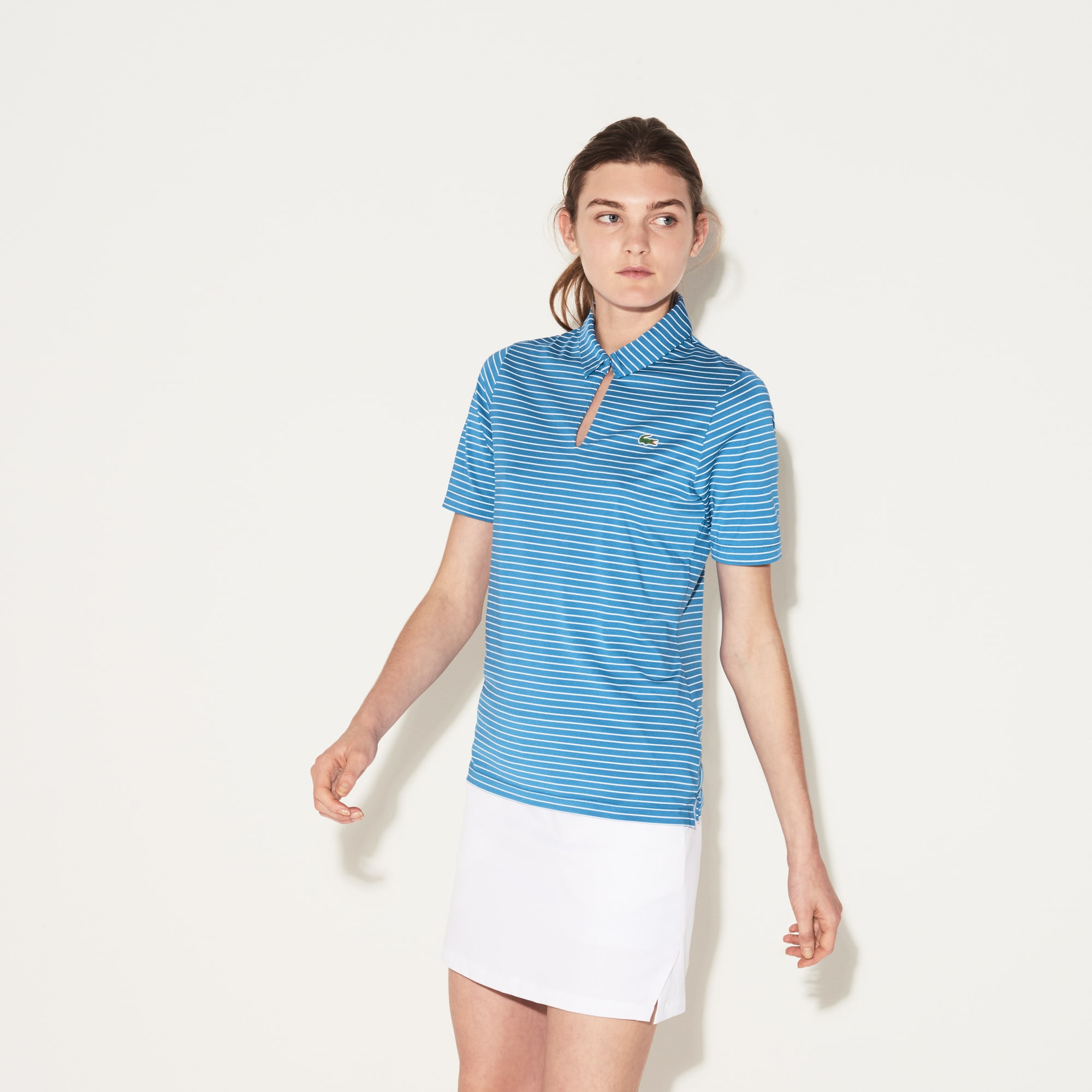 Women's SPORT Teardrop Neck Striped Jersey Golf Polo