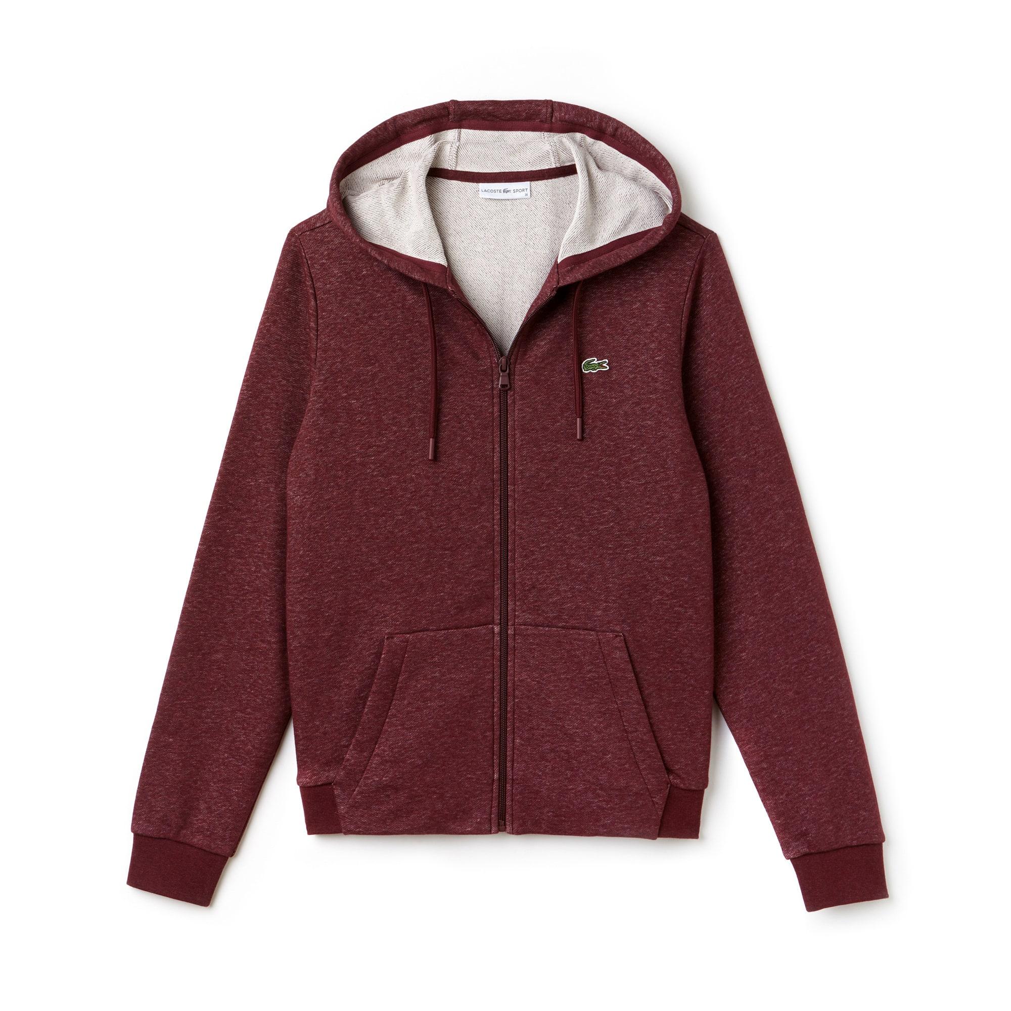 라코스테 Lacoste Womens SPORT Tennis Hooded Zippered Fleece Sweatshirt,GRAPE VINE/GRAPE VINE