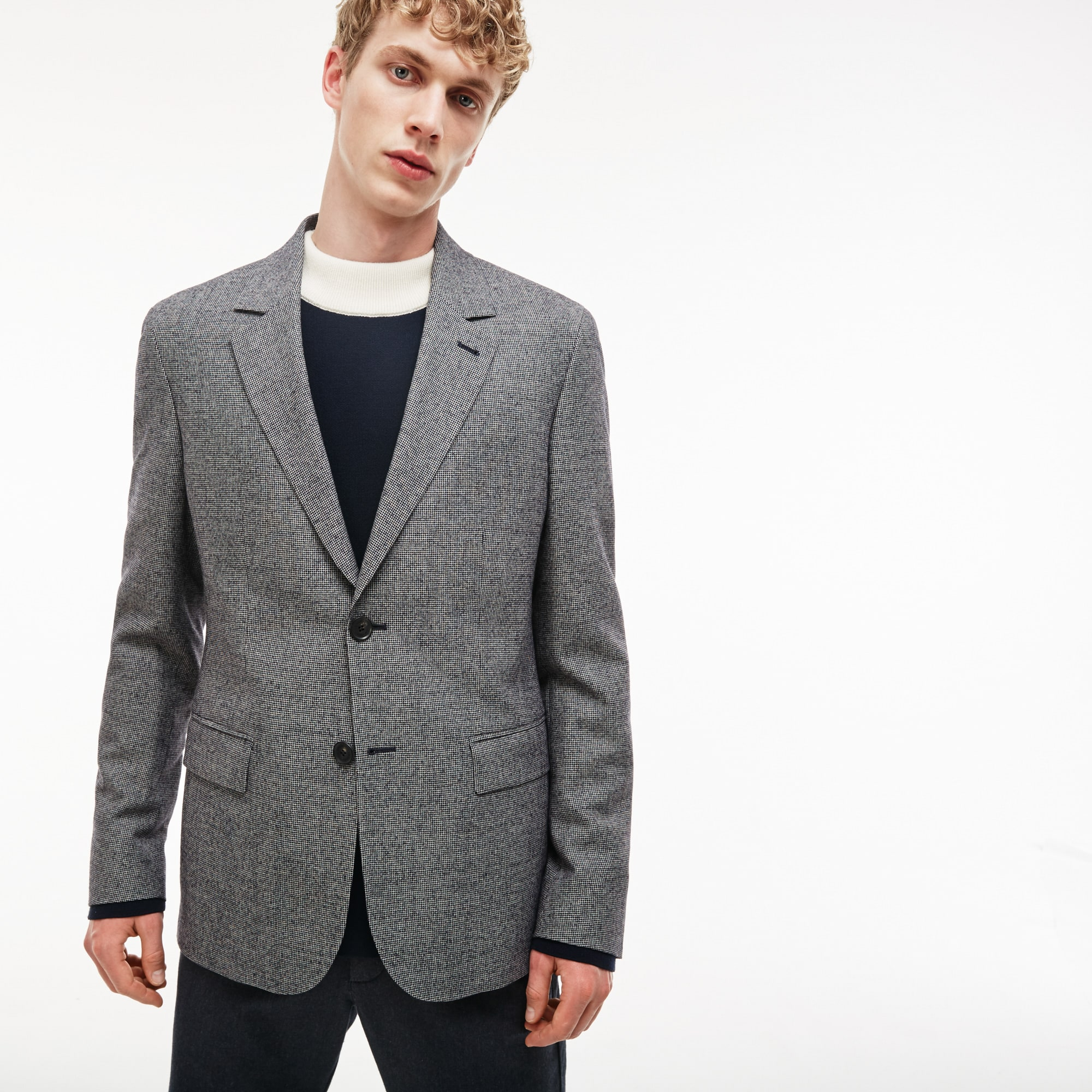 Men's Houndstooth Print Stretch Wool And Cotton Buttoned Jacket
