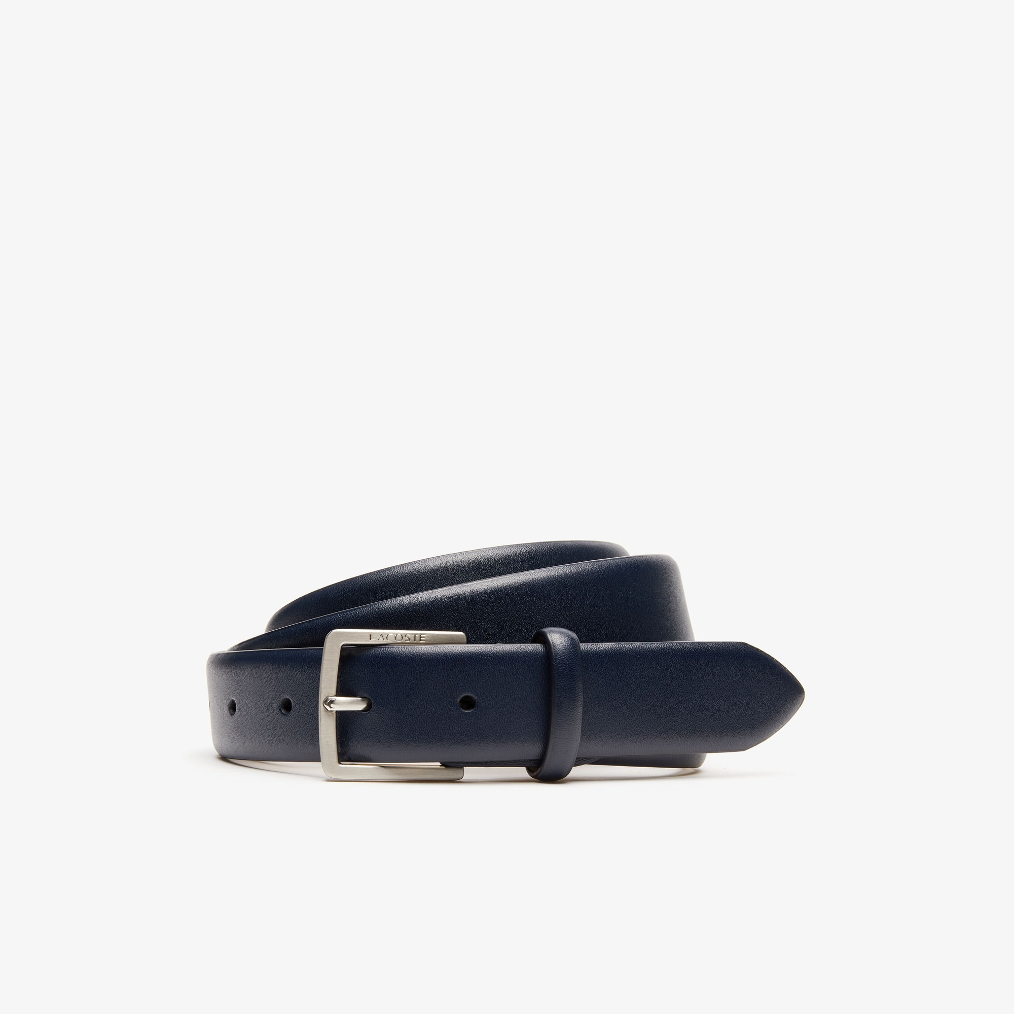 Men's Engraved-Buckle Leather Belt