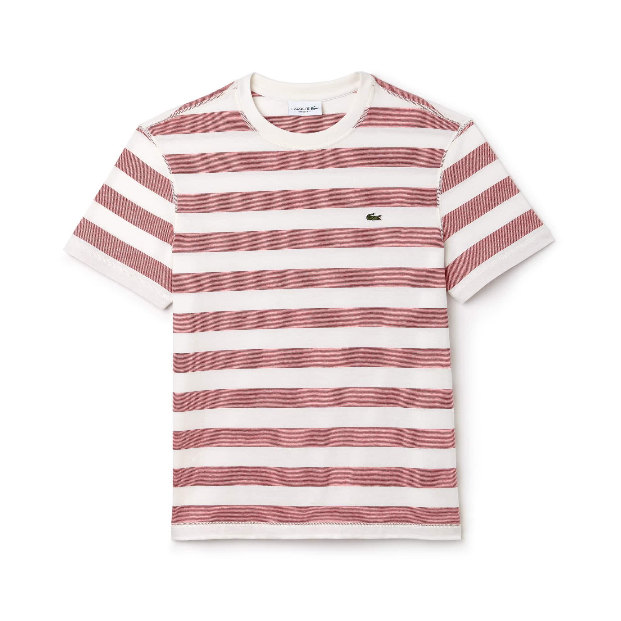 Men's Crew Neck Striped Cotton T-Shirt
