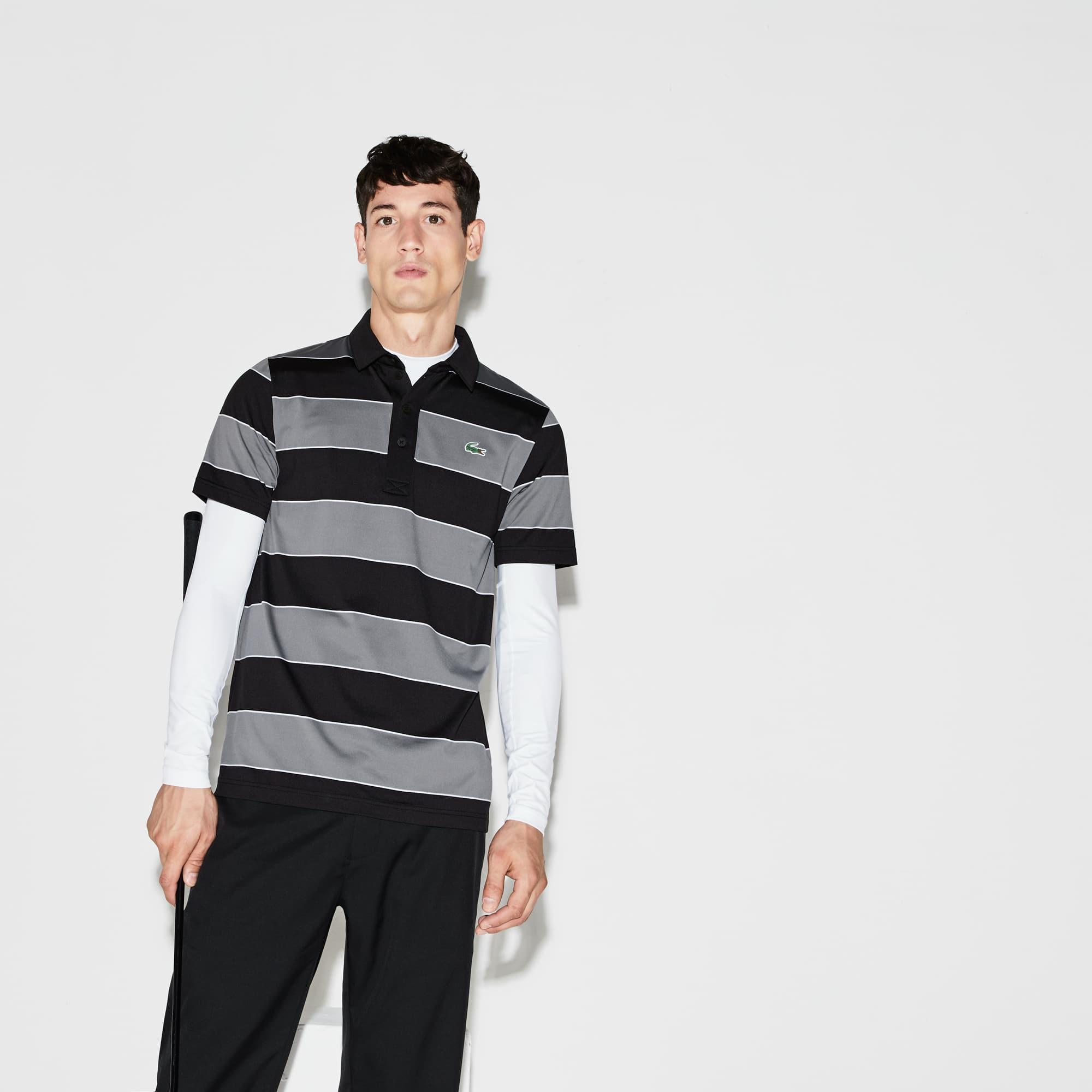 Men's SPORT Striped Stretch Jersey Golf Polo