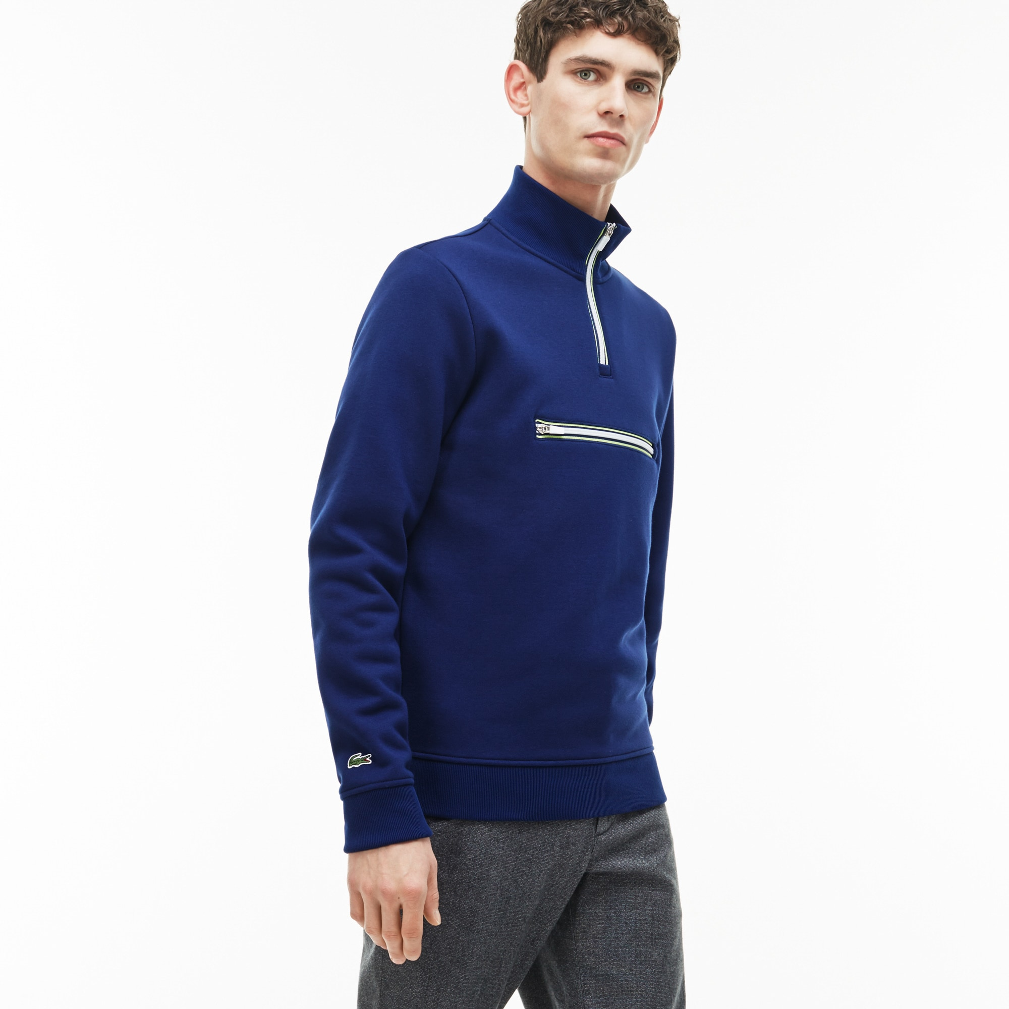 Men's Fleece Zip Stand-Up Collar Sweatshirt With Piping