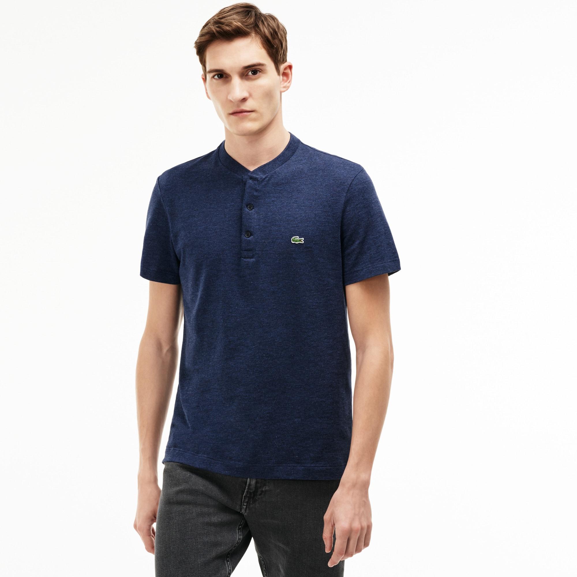 Men's Buttoned Crew Neck Flamme Cotton Jersey T-shirt