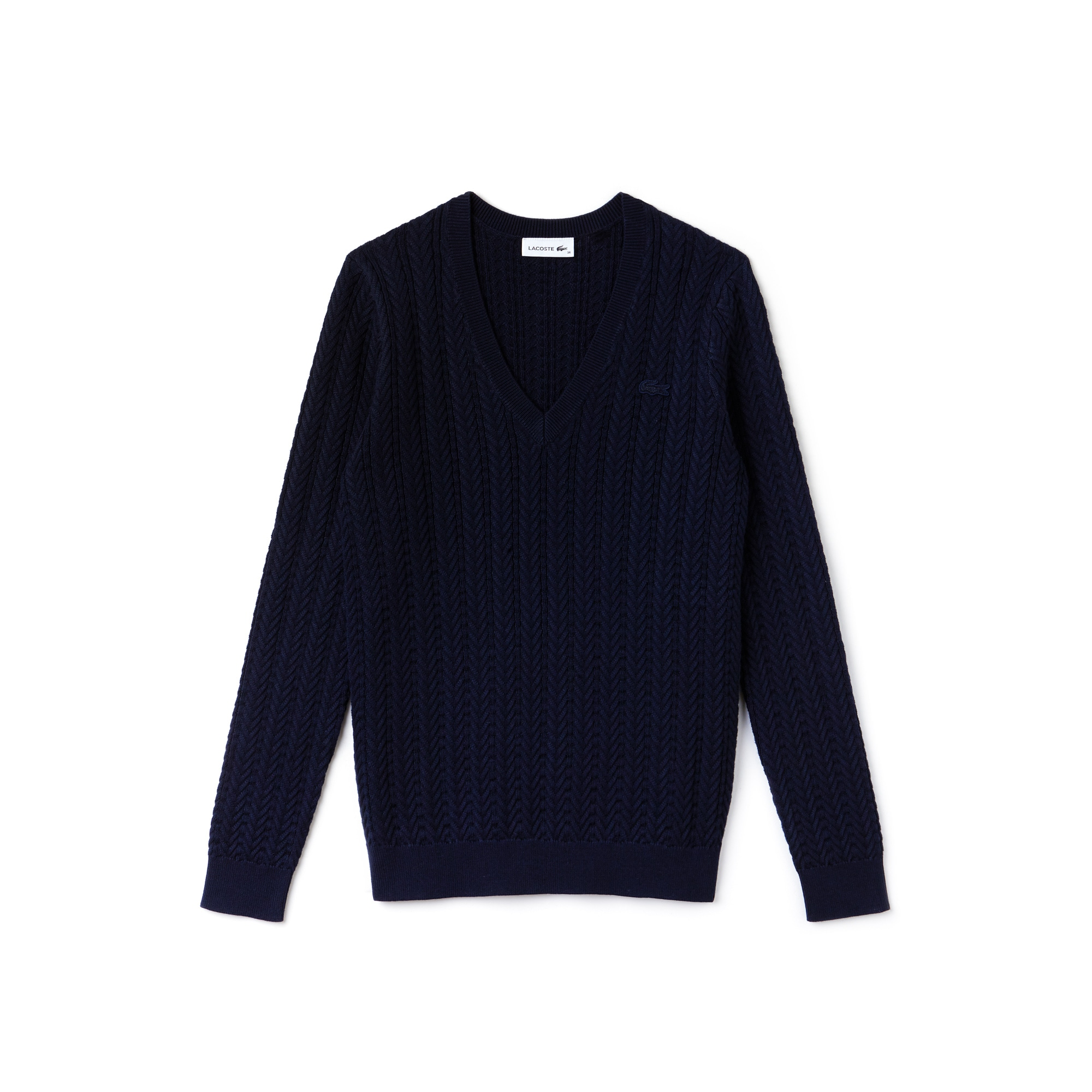 Women's V-neck Cable Knit Sweater | LACOSTE