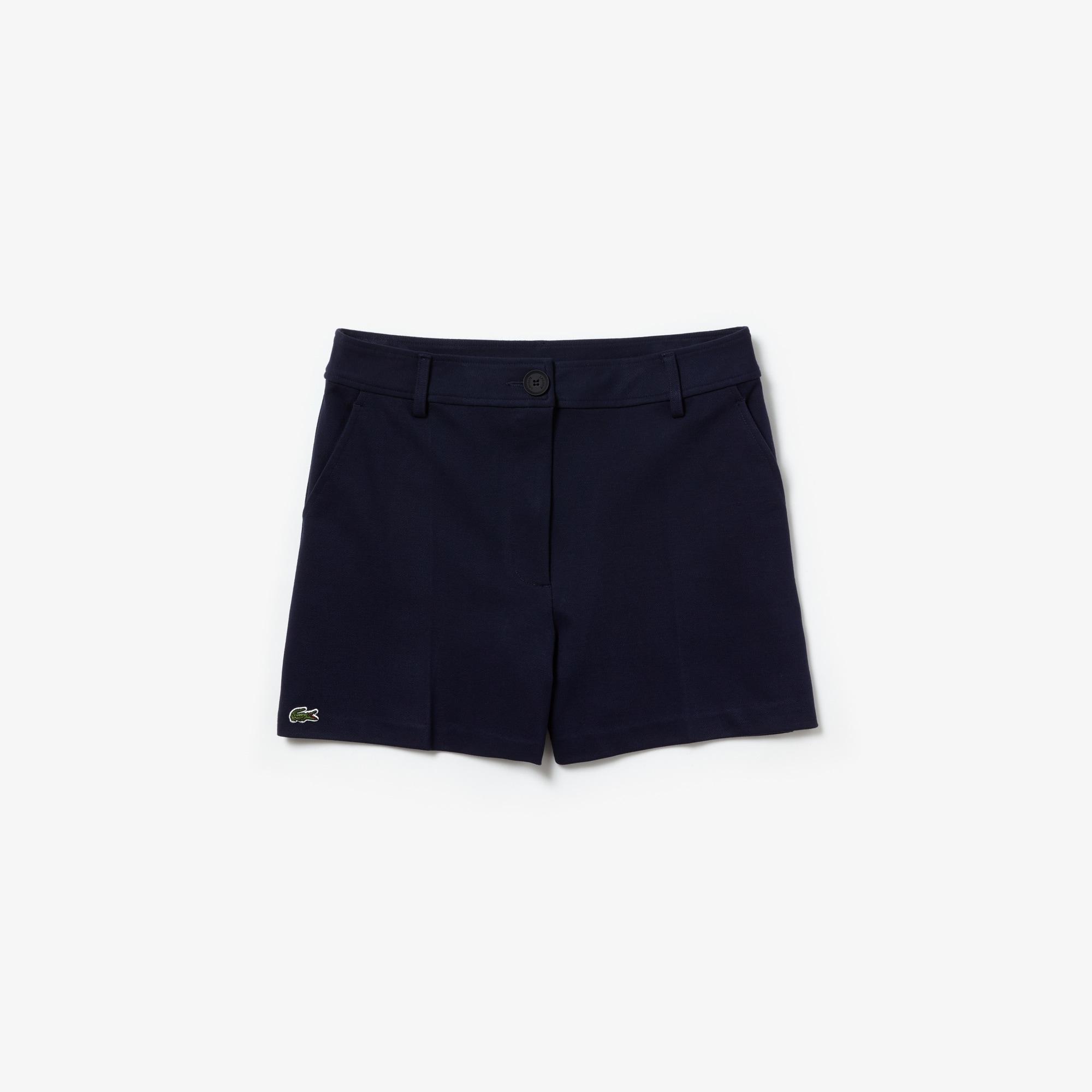 라코스테 Lacoste Womens Pleated Technical Knit Shorts,Navy Blue - 166 (Selected color)