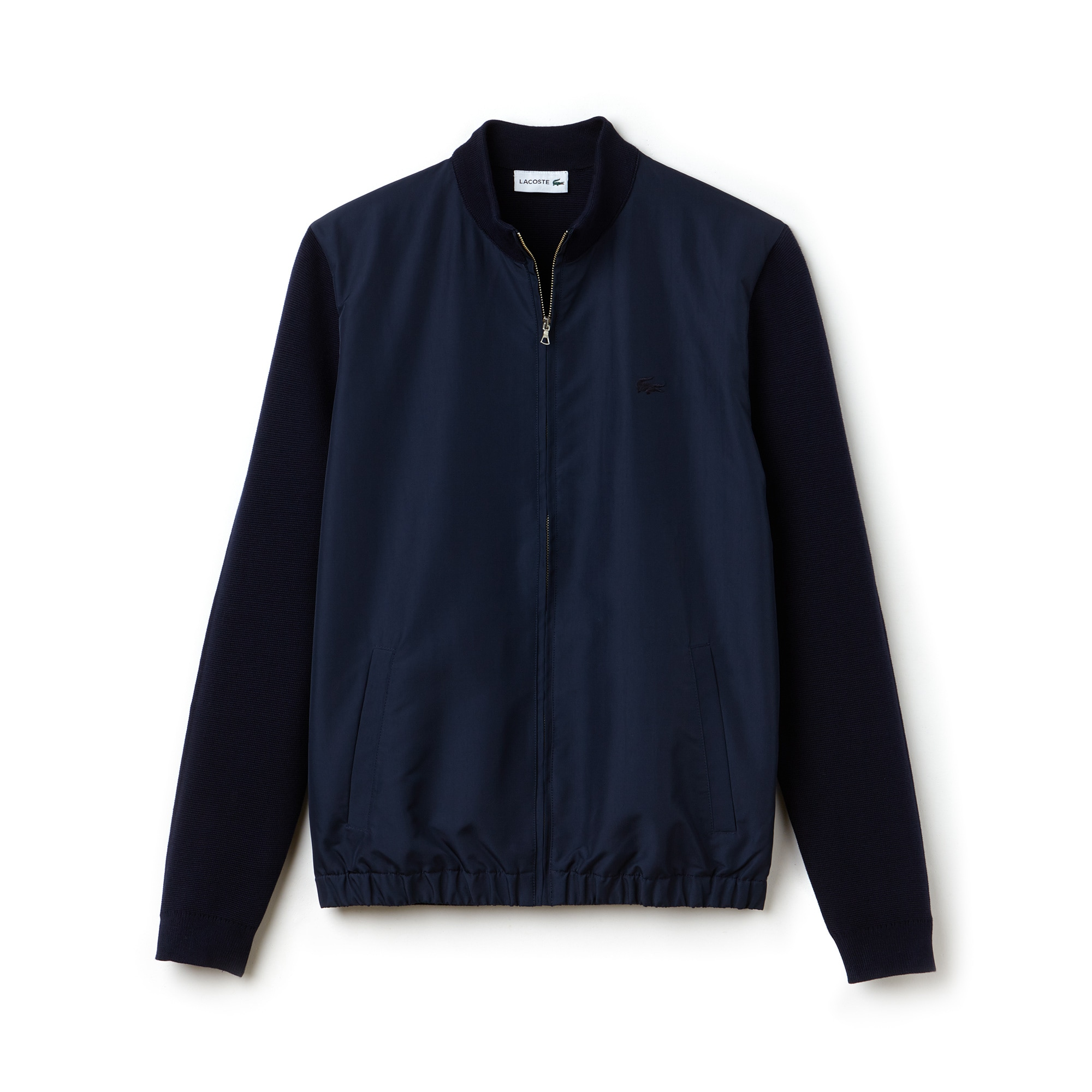 Men's Zippered Bicolor Milano Cotton And Nylon Cardigan
