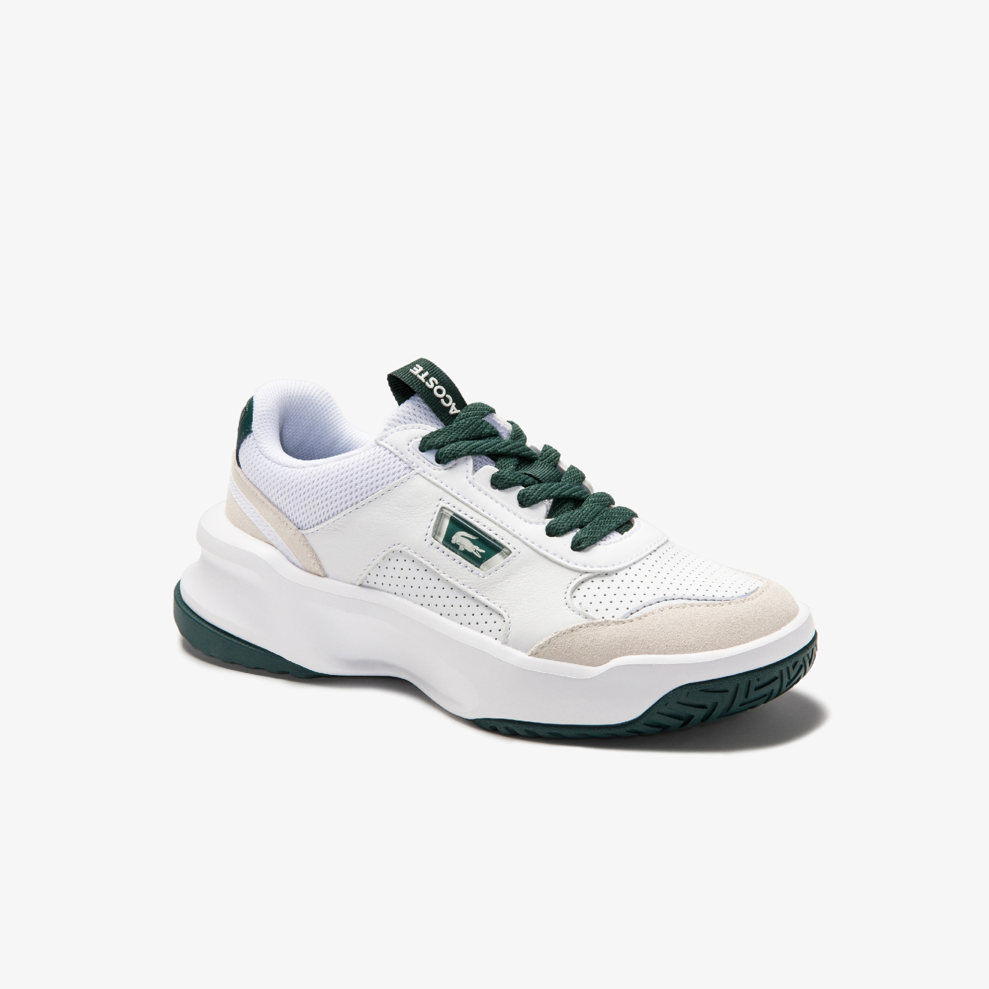 Lacoste Womens Ace Lift Leather and Suede Trainers