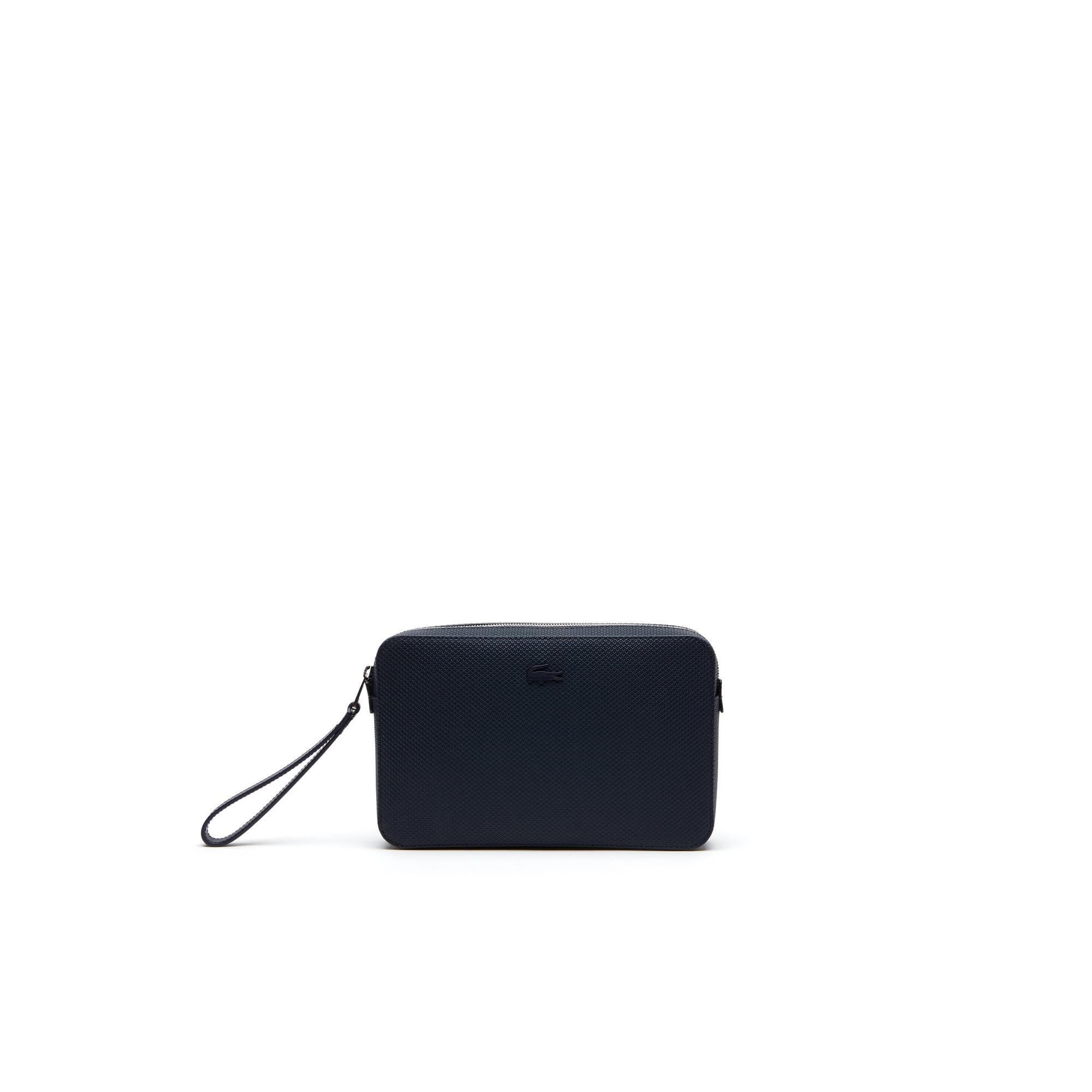 라코스테 Lacoste Mens Chantaco Pique Leather Zip Pouch,peacoat