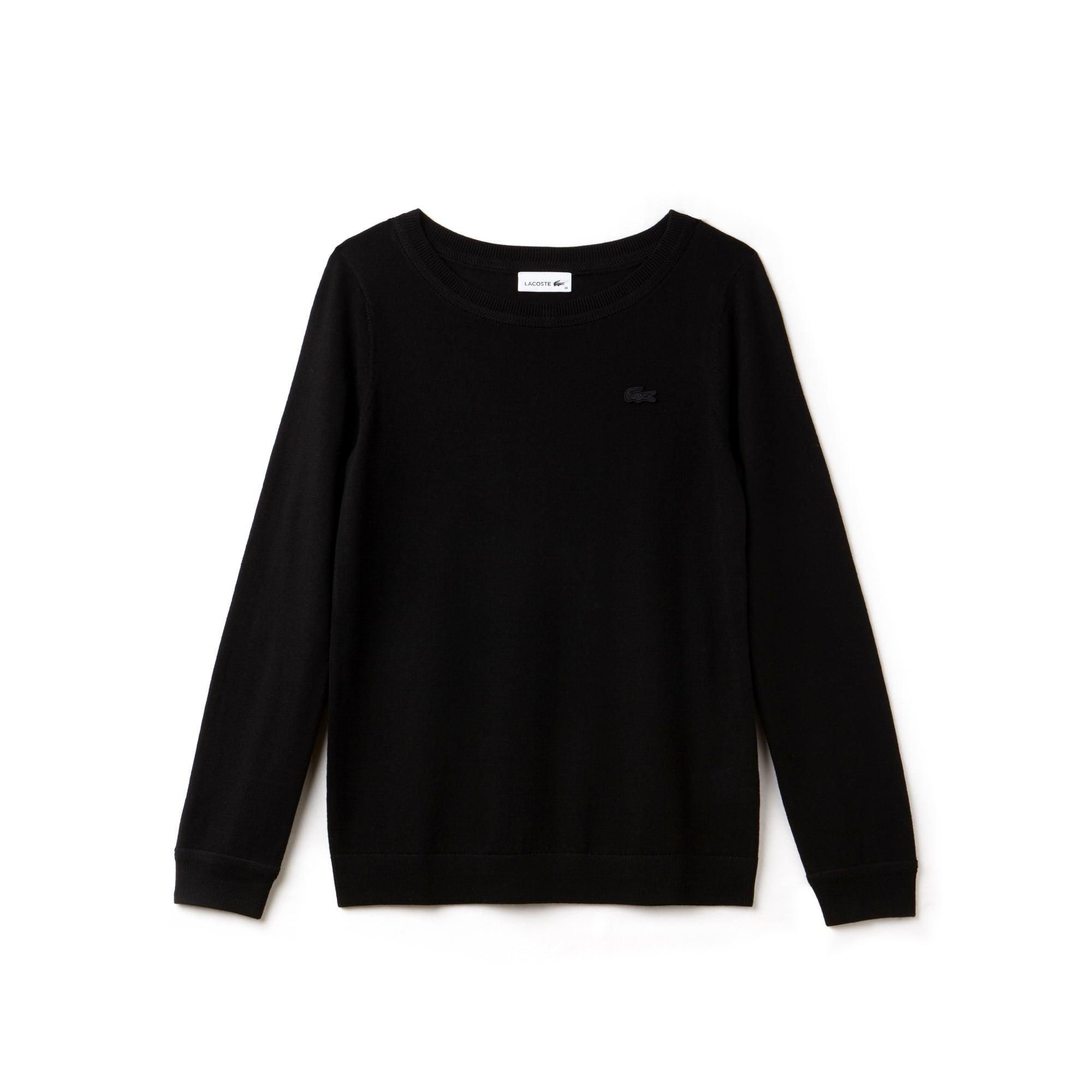 Women's Boat Neck Wool Jersey Sweater
