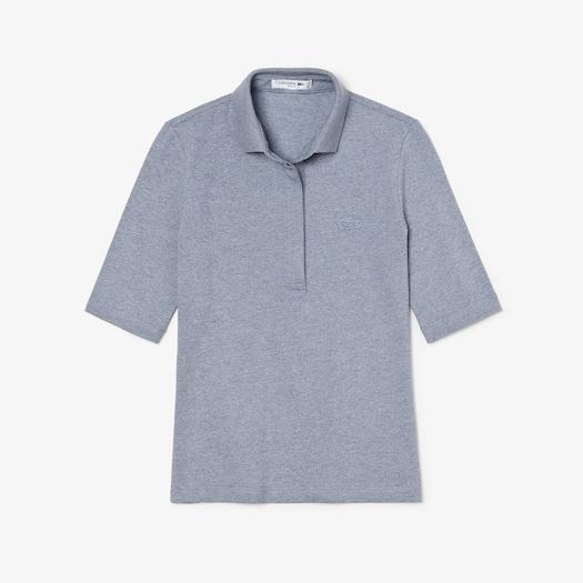 라코스테 우먼 스트레치 미니 피케 폴로 셔츠 Lacoste Womens Slim Fit Stretch Mini Pique Polo Shirt,Blue Chine
