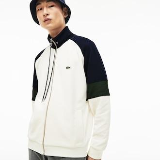 라코스테 피케 플리스 집업 스웻셔츠 - 화이트 ('런닝맨' 유재석 착용) Lacoste Mens Pique Fleece Zip Sweatshirt, 9KX, SH436451