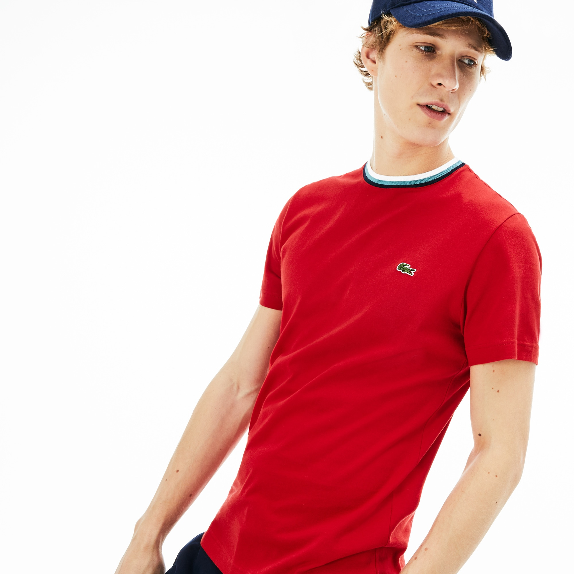 dc8b78564825 Lacoste Men's Crew Neck Cotton T-Shirt In Red | ModeSens