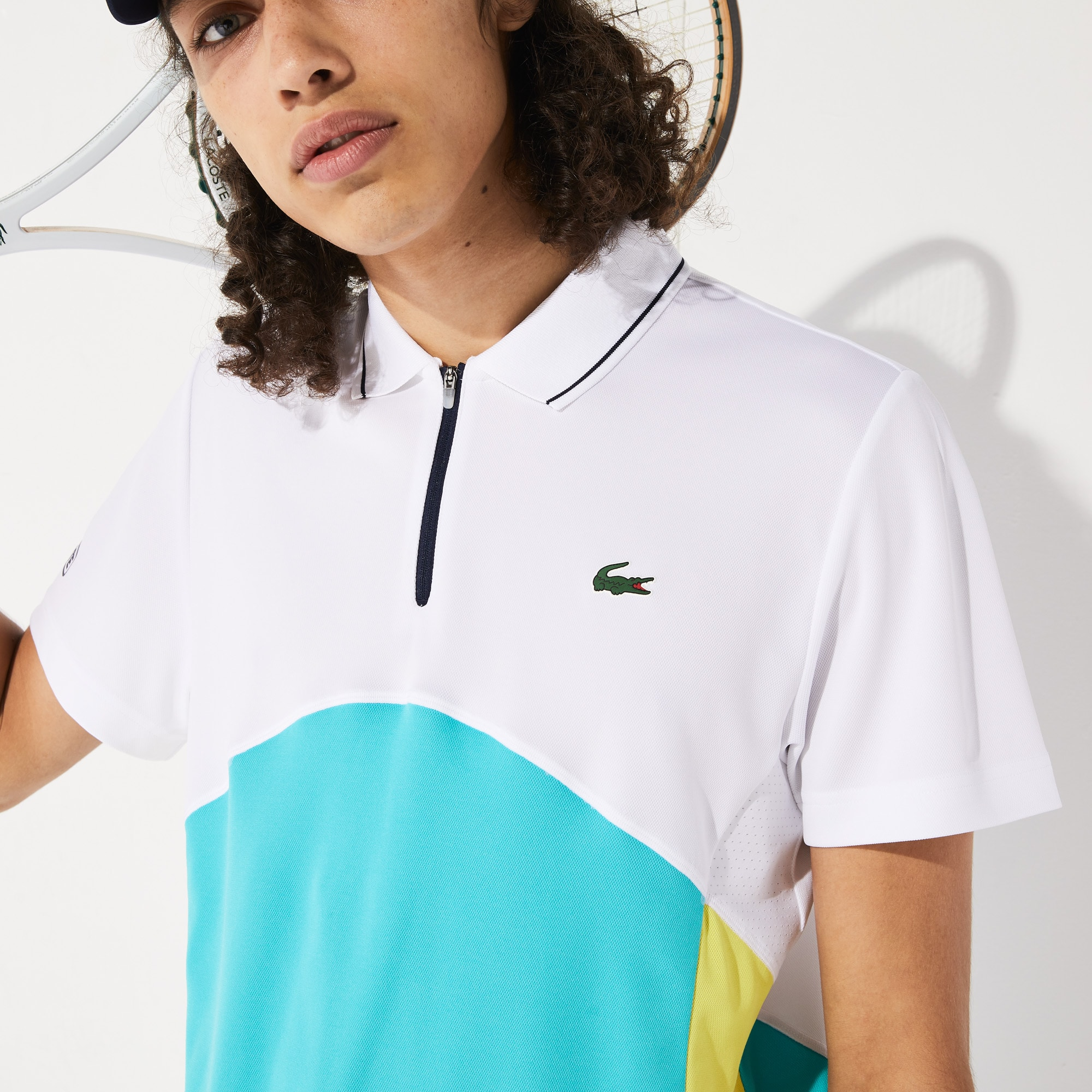 라코스테 Lacoste Mens SPORT Ultra-Dry Pique Zip Tennis Polo Shirt,White / Turquoise / Yellow / Navy Blue - YGZ (Sele
