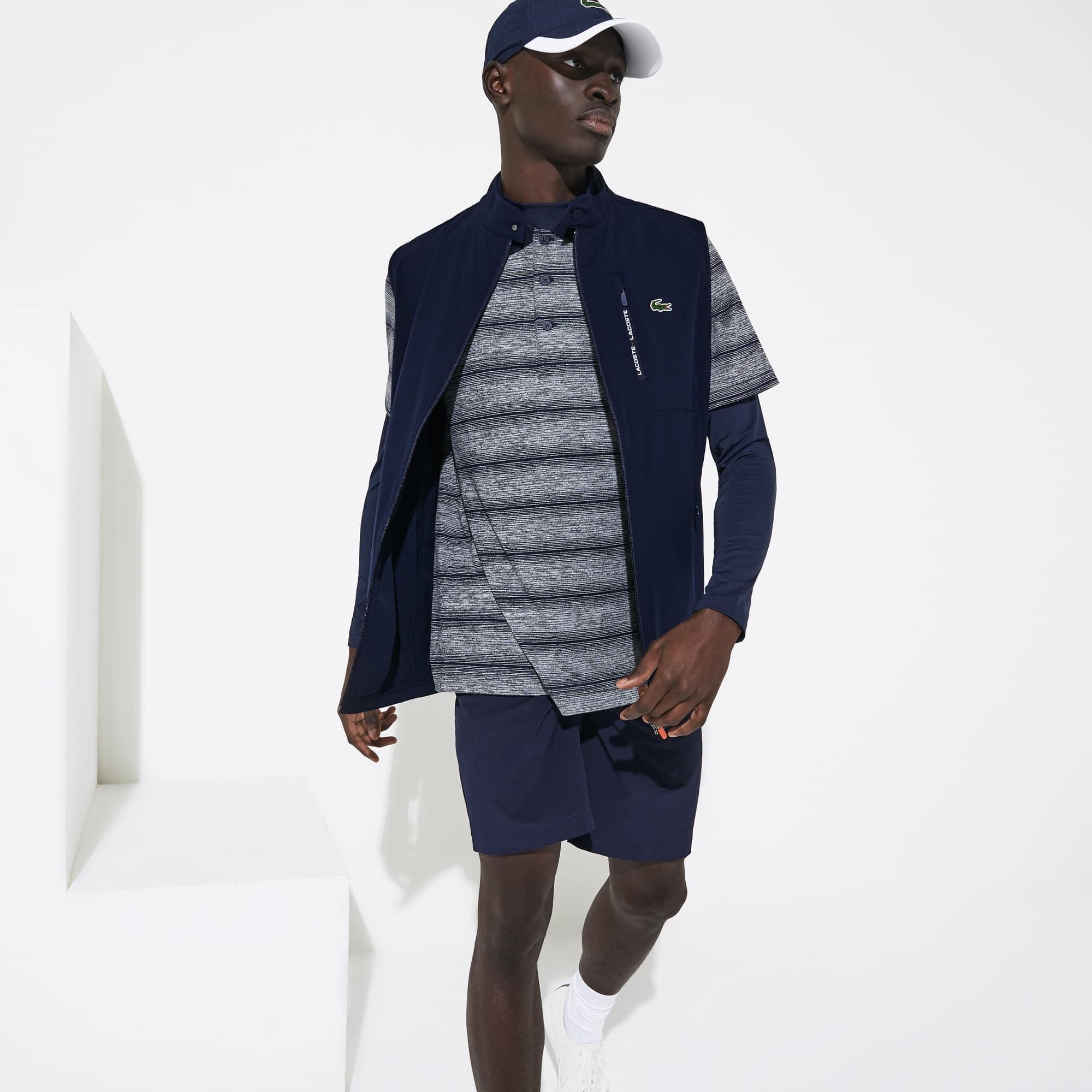 라코스테 Lacoste Mens SPORT Lightweight Water-Resistant Golf Vest,Navy Blue / Red - XVF