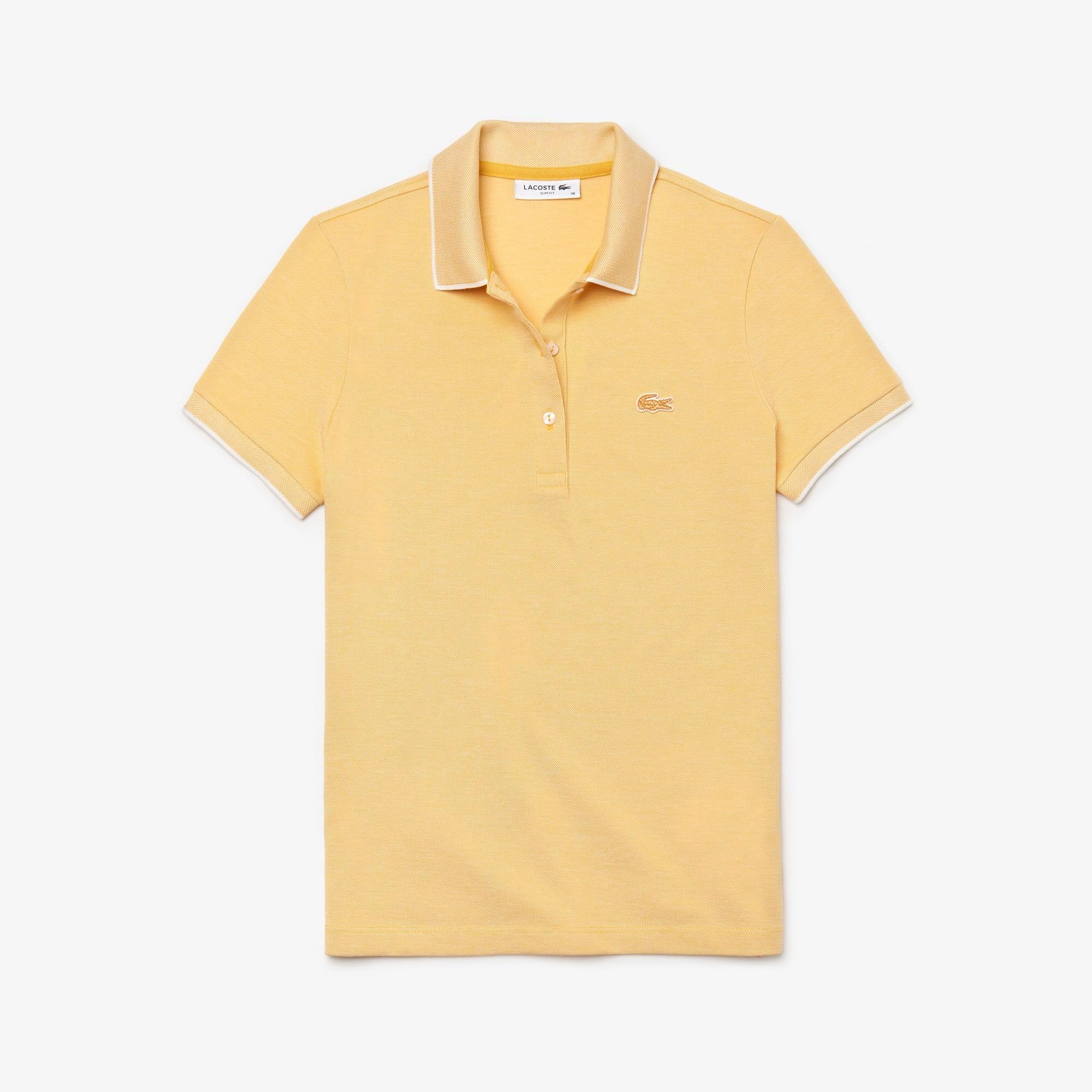 라코스테 폴로 반팔 티셔츠 슬림핏 Lacoste Womens Slim Fit Stretch Polo Shirt,Yellow / White