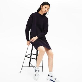 라코스테 우먼 모션 스웻셔츠 원피스 - 네이비 Lacoste Womens Motion Sweatshirt Dress,Navy Blue