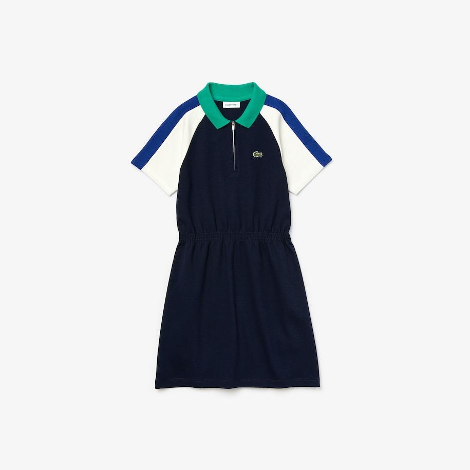 Girls' Zippered Colorblock Cotton Polo Dress