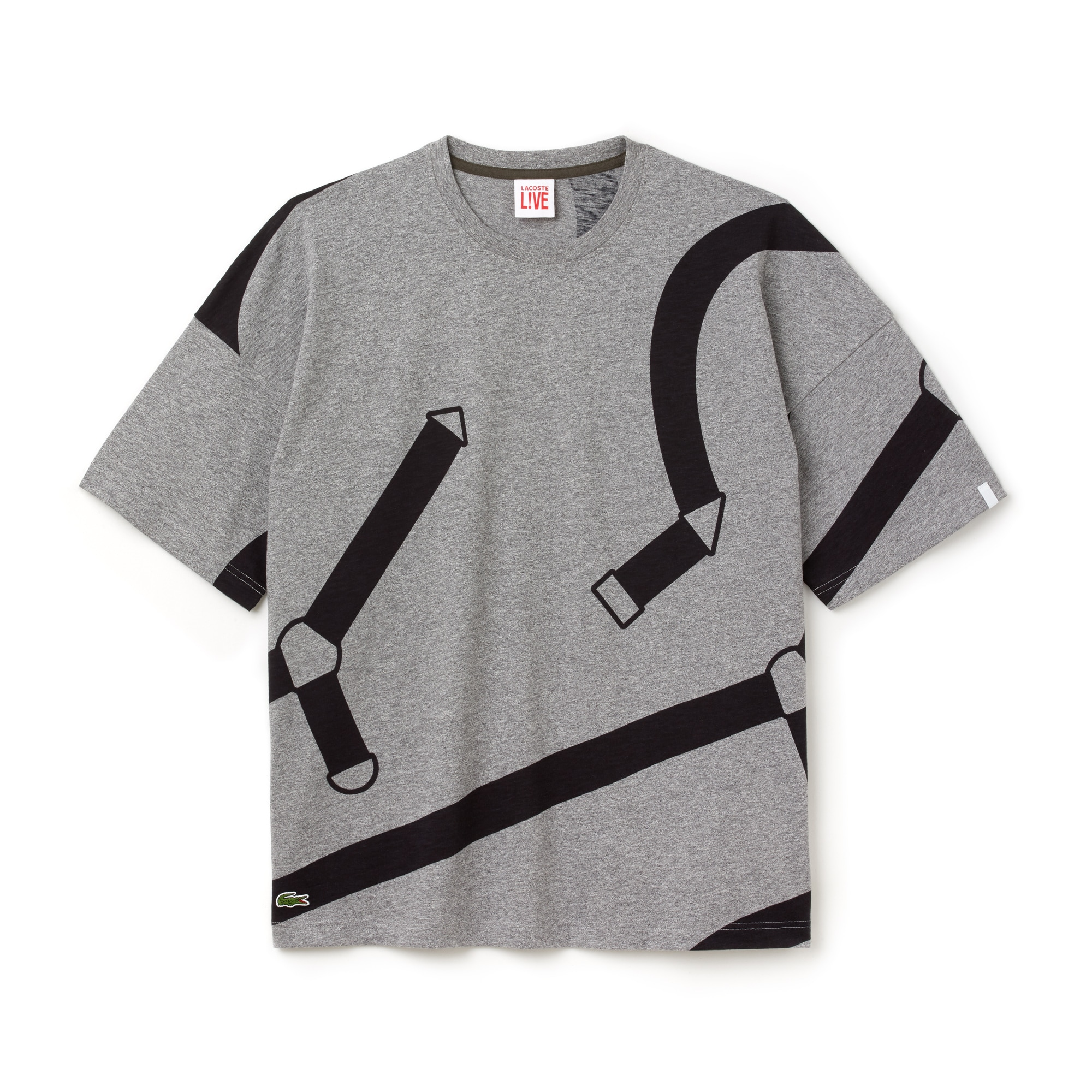 라코스테 Lacoste Mens LIVE Crew Neck Graphic Print Cotton Jersey T-shirt,Grey / Black