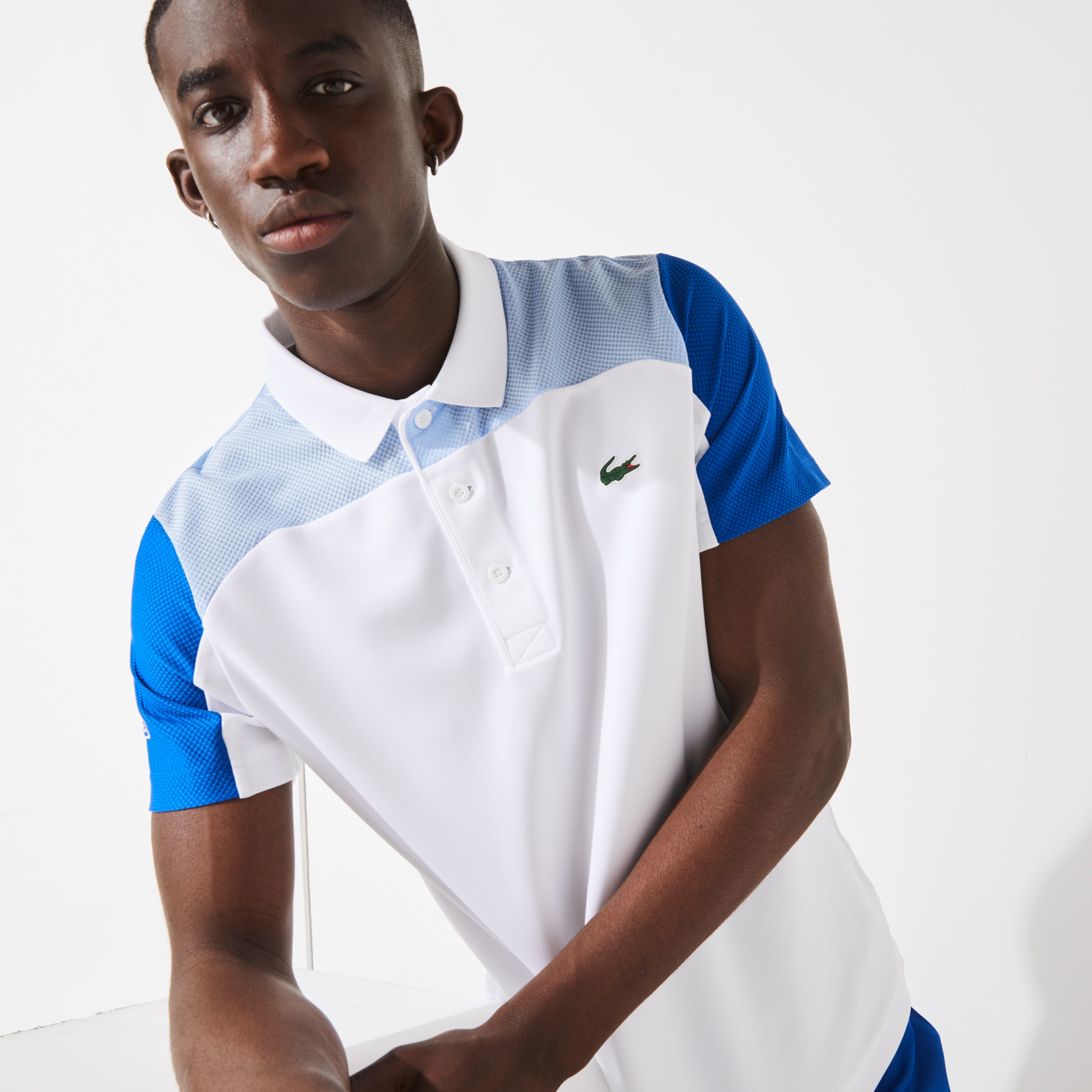 라코스테 Lacoste Men's SPORT Breathable Colorblock Tennis Polo