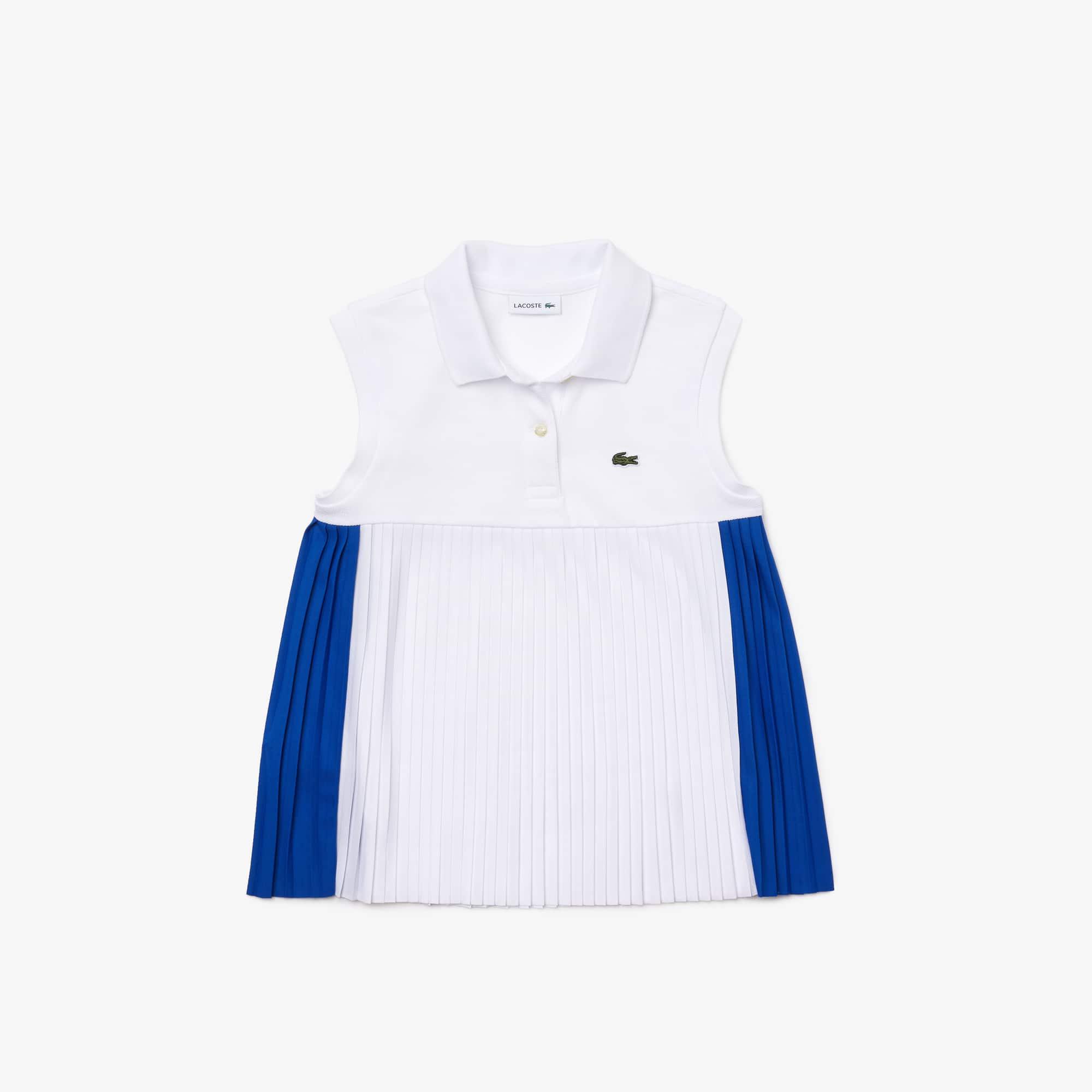 라코스테 걸즈 플리츠 주름 폴로티 Lacoste Girls' Pleated Cotton Polo