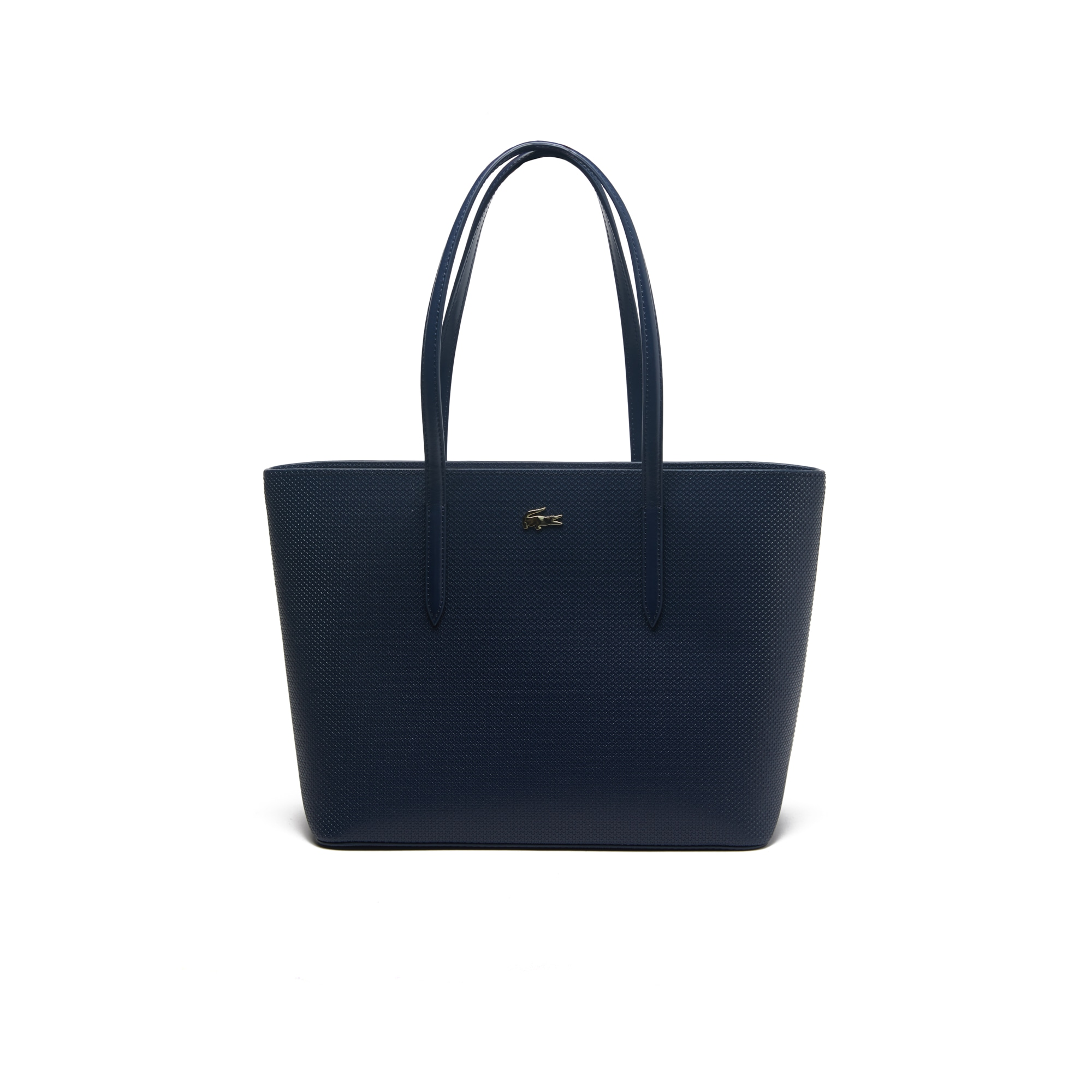 라코스테 Lacoste Womens Chantaco Pique Leather Zip Tote Bag,peacoat