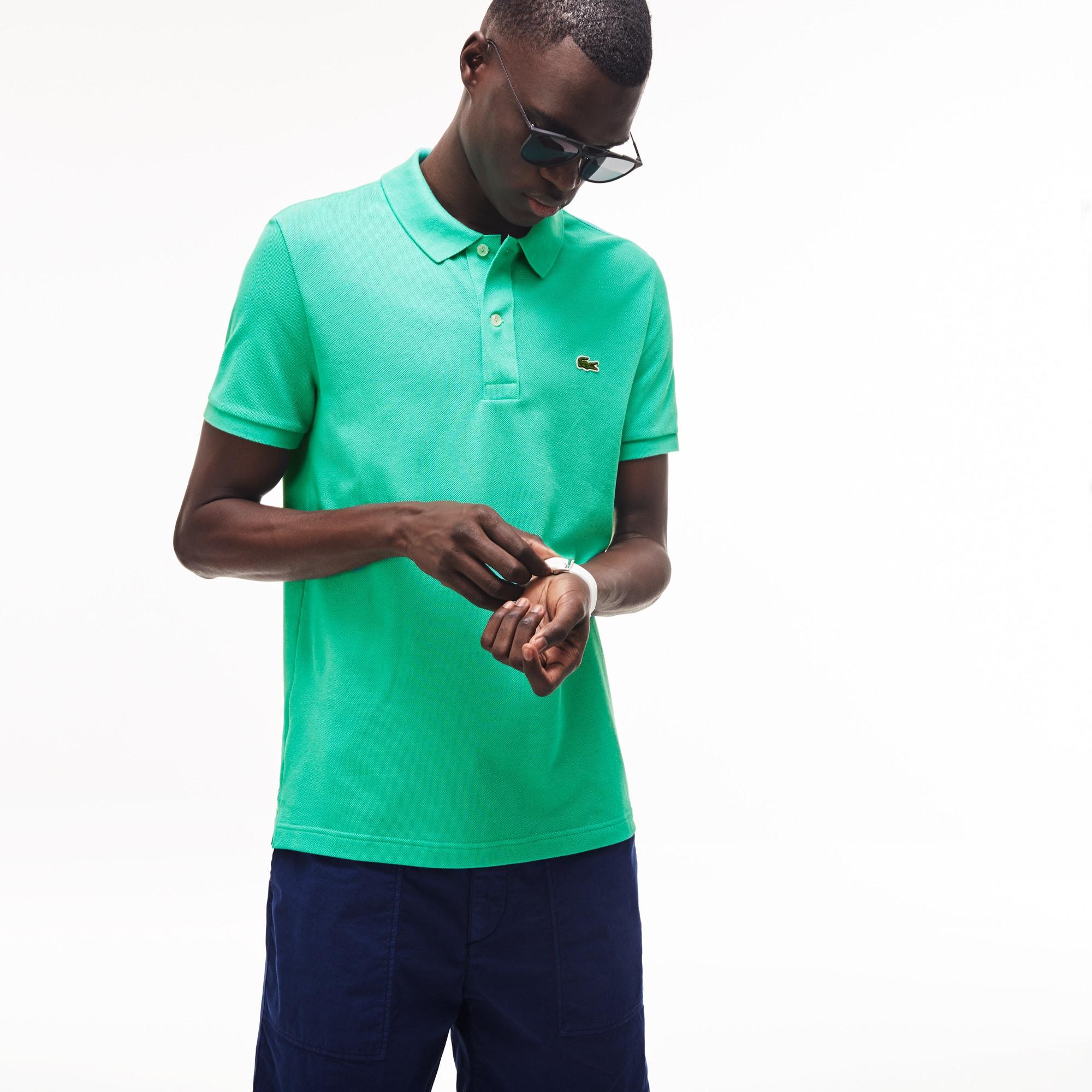 1a17d8bf86 Men's Petit Piqué Slim Fit Polo Shirt in Light Green