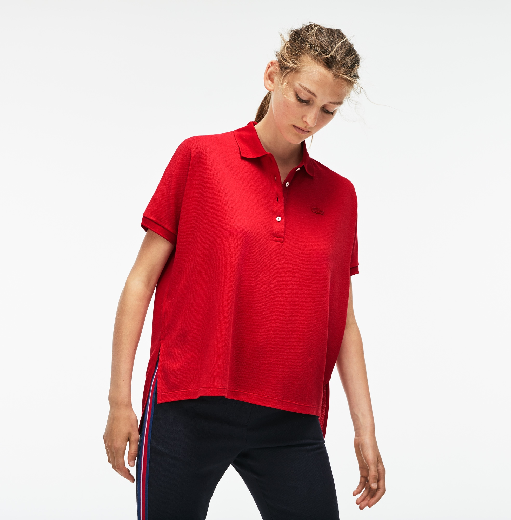 Women's Modern Fit Flowing Stretch Cotton Piqué Polo