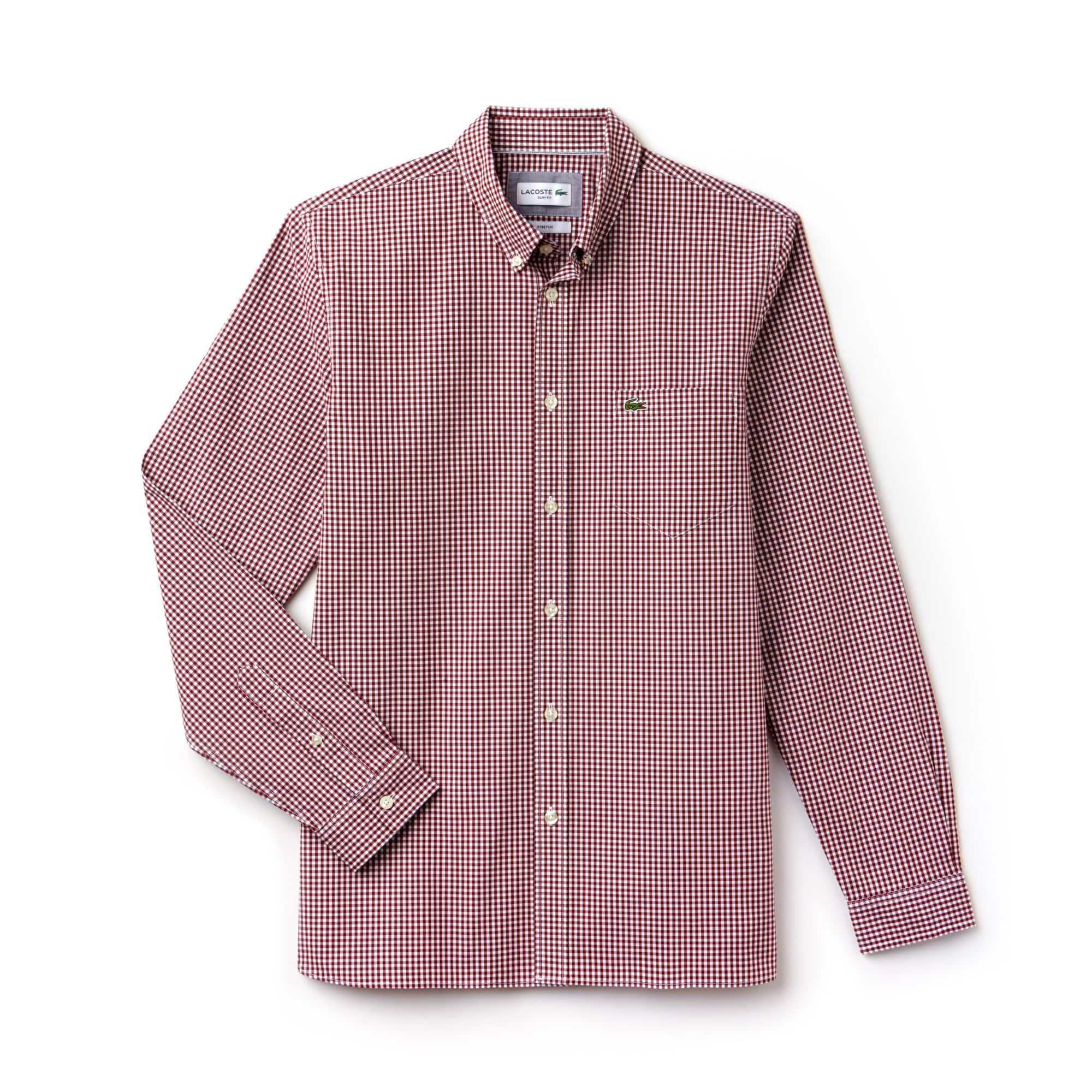 라코스테 Lacoste Mens Slim Fit Gingham Stretch Cotton Poplin Shirt,red / white
