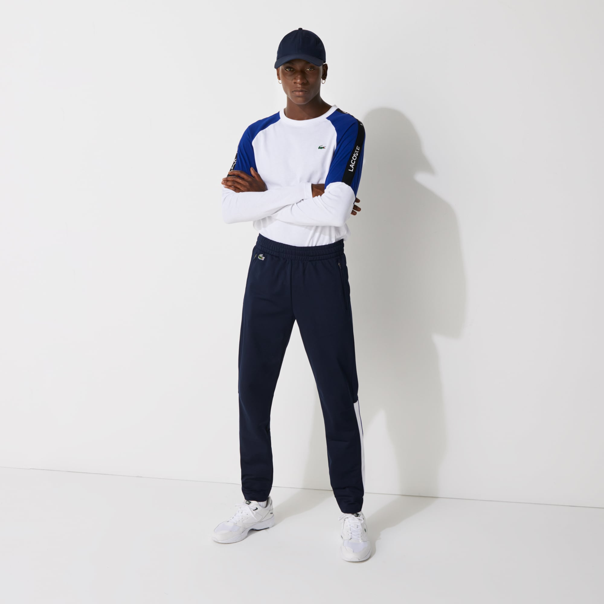 라코스테 Lacoste Men's SPORT Colorblock Tricot Sweatpants,Navy Blue / White / Blue - RHW