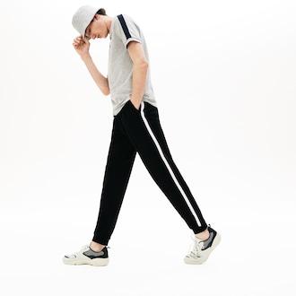 라코스테 Lacoste Mens Striped Accent Fleece Sweatpants,Black - 031