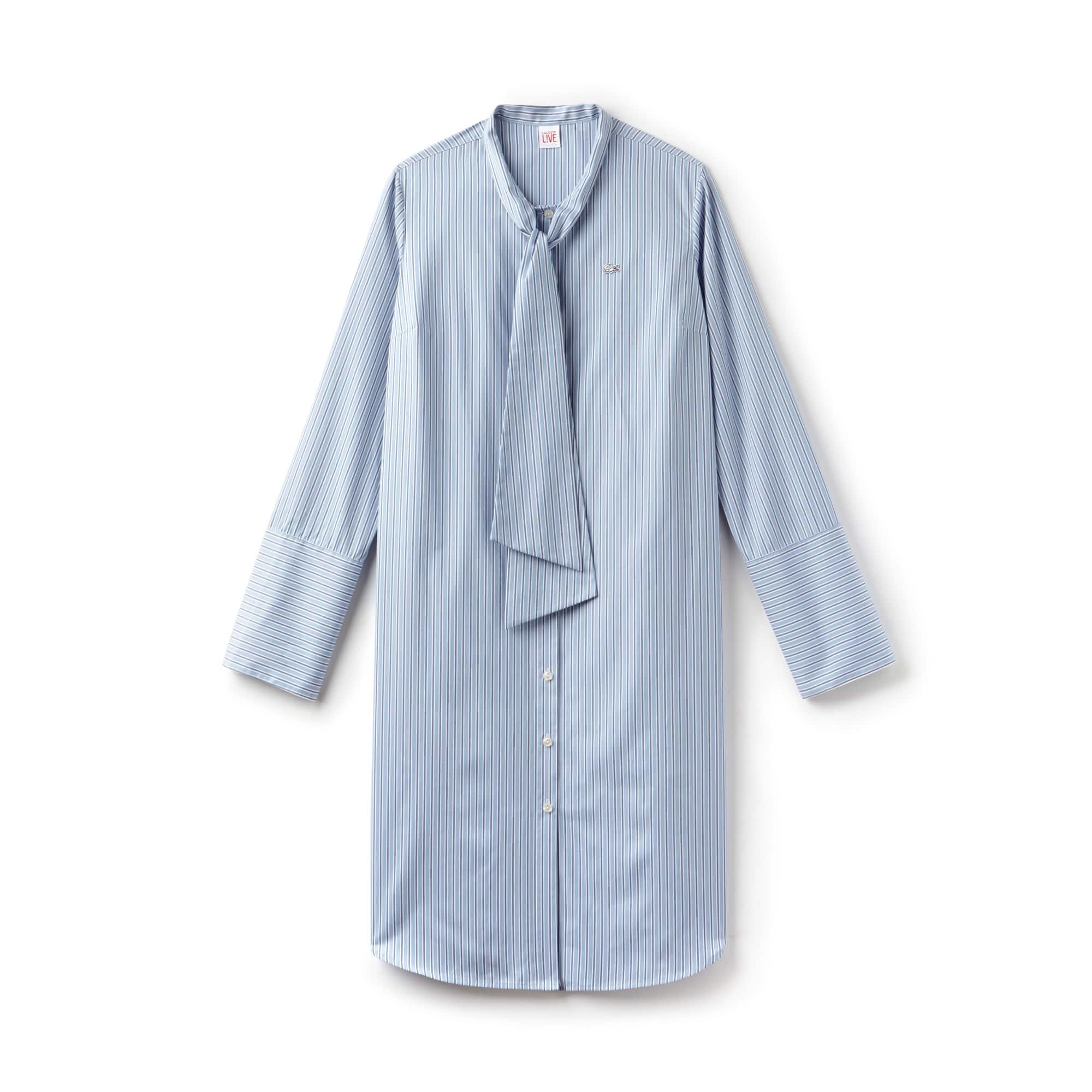 Women's LIVE Bow Neck Shirt Dress