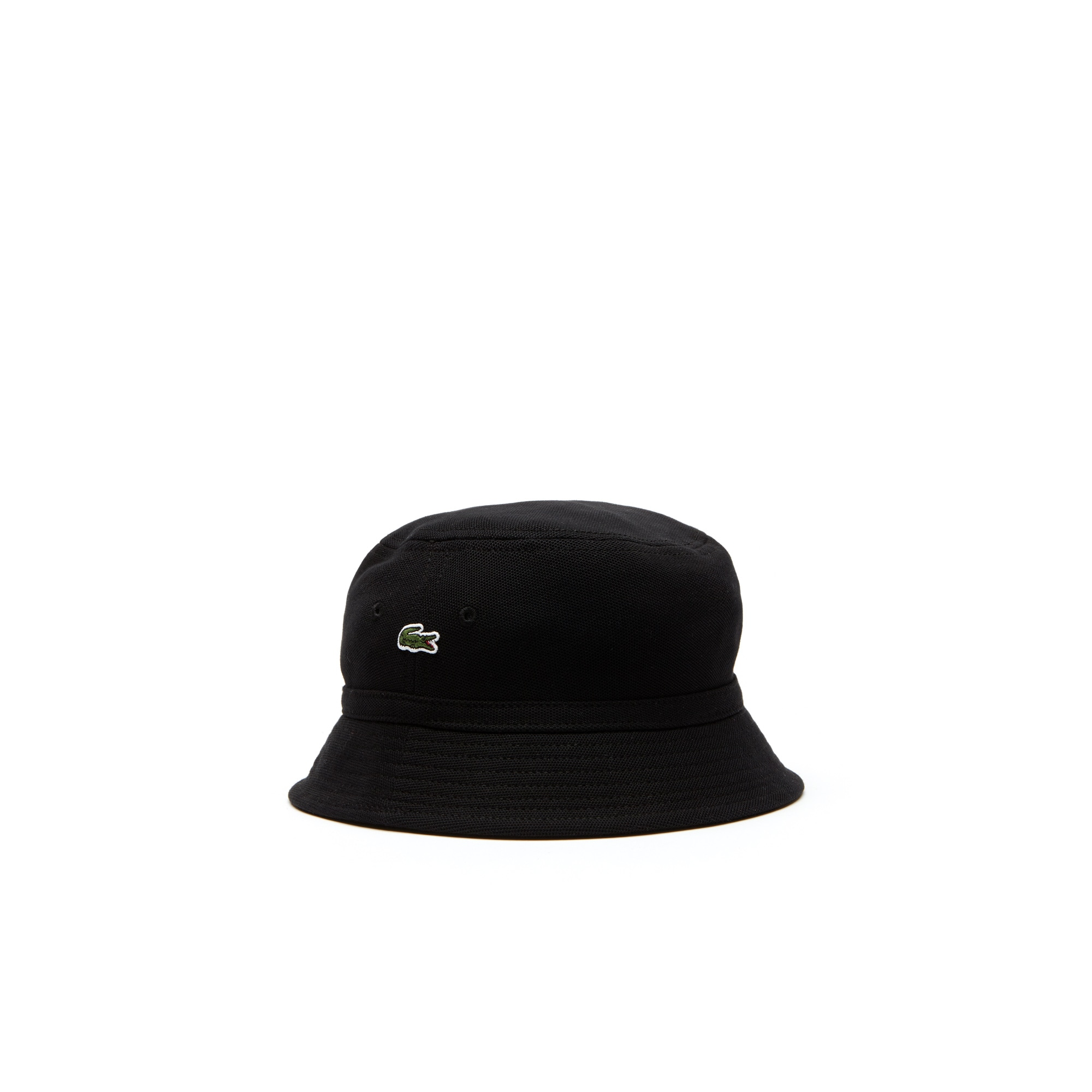 라코스테 Lacoste Mens Cotton pique bucket hat,black